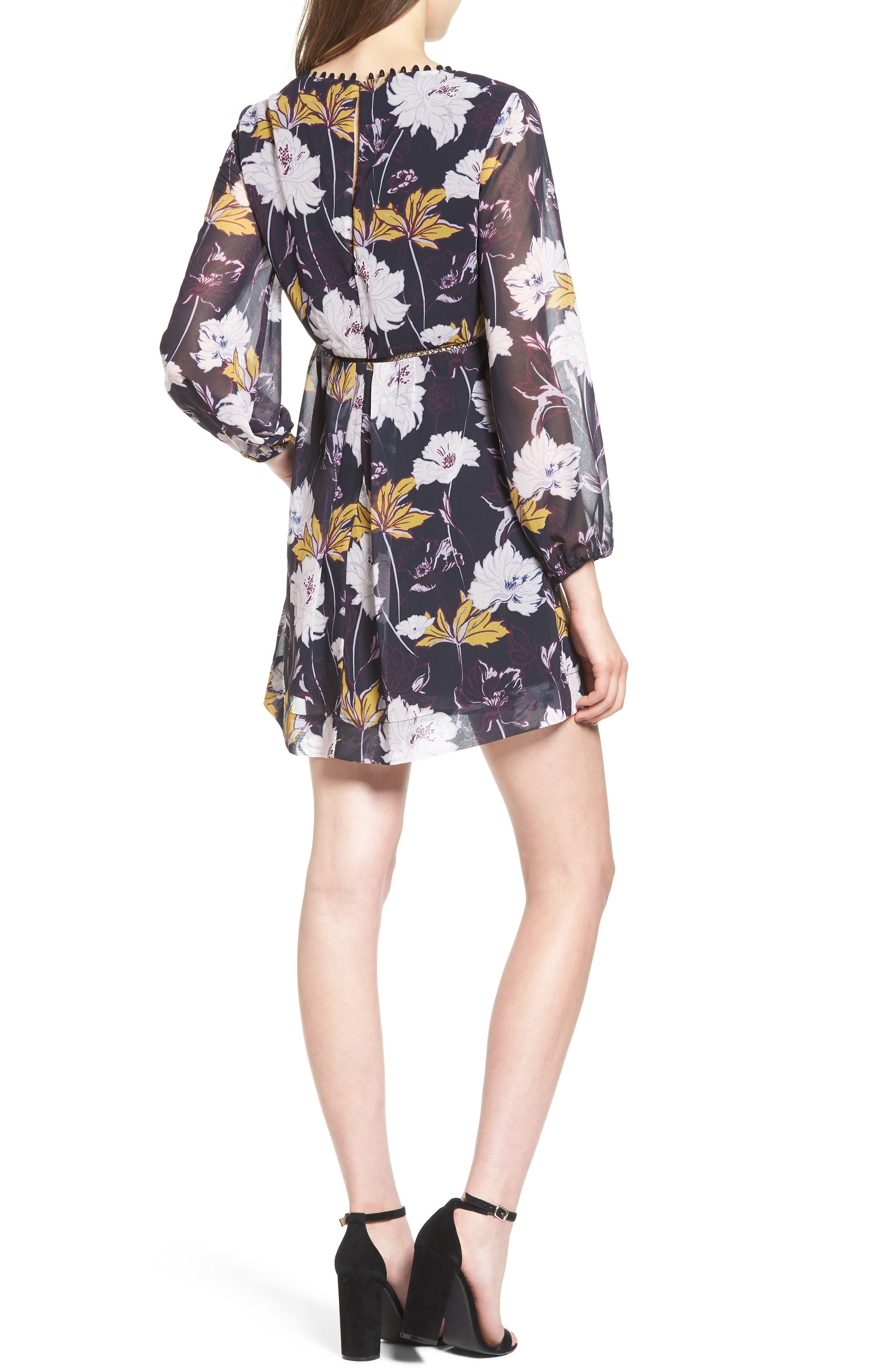 Floral Haze Minidress,                             Alternate thumbnail 2, color,                             Black