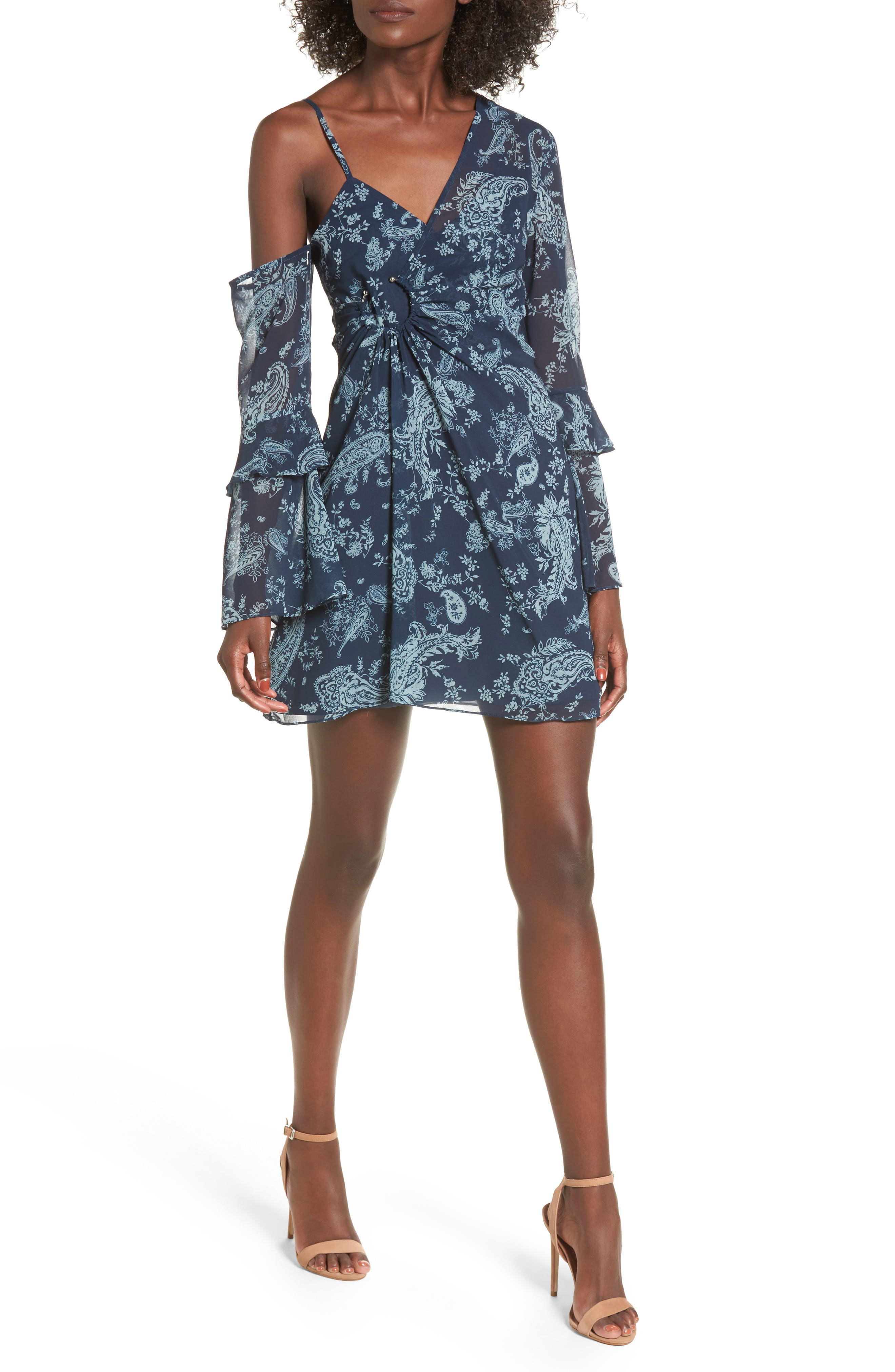 Go With It Minidress,                         Main,                         color, Navy Paisley