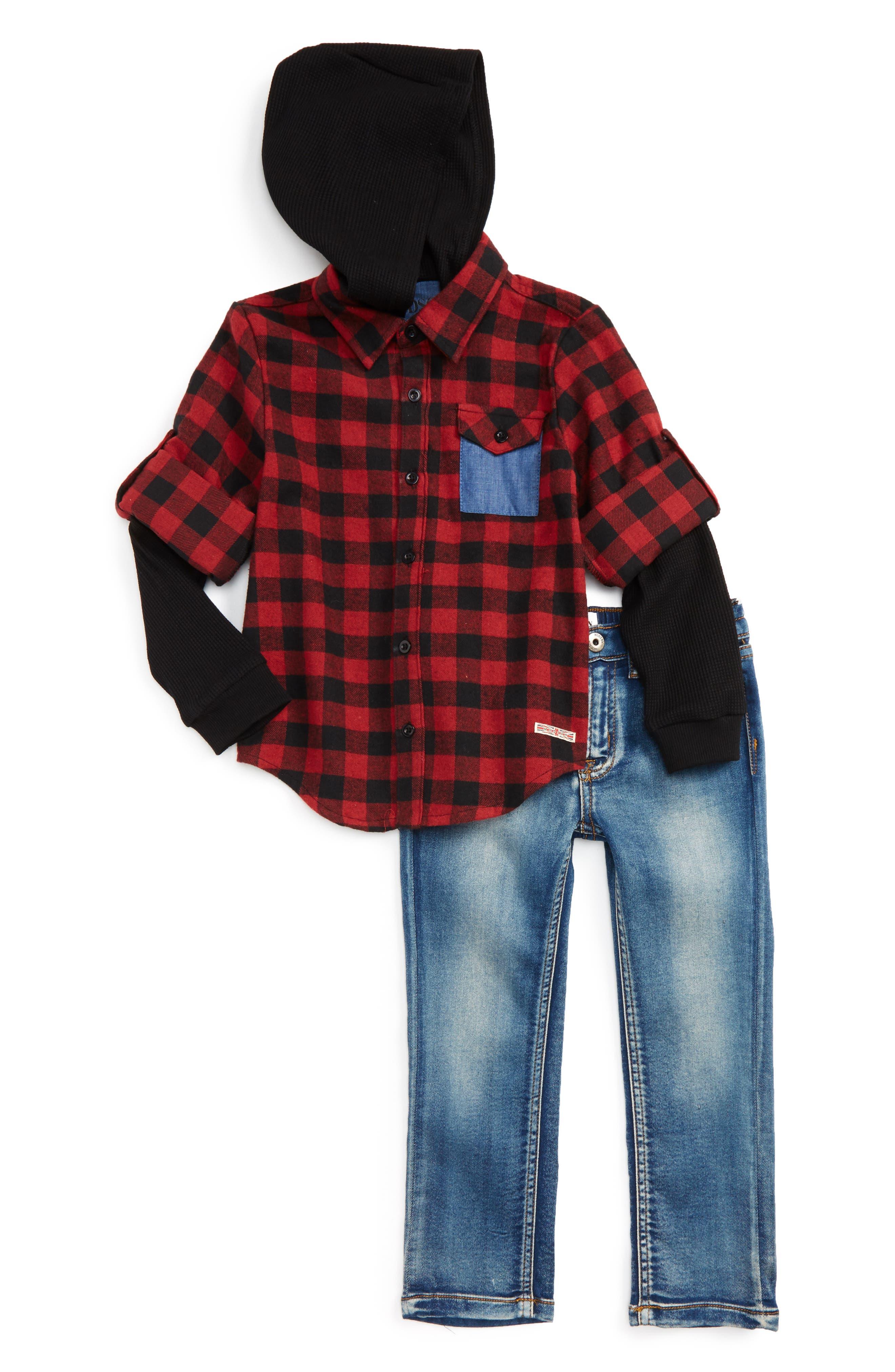 Main Image - Hudson Kids Hooded Flannel Shirt & Stretch Pants Set (Toddler Boys)