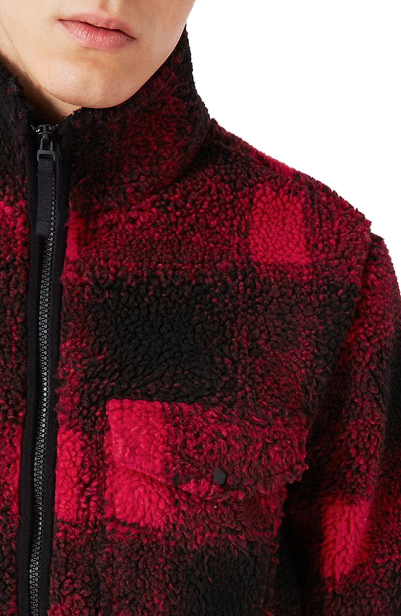 Buffalo Check Borg Jacket,                             Alternate thumbnail 3, color,                             Red Multi