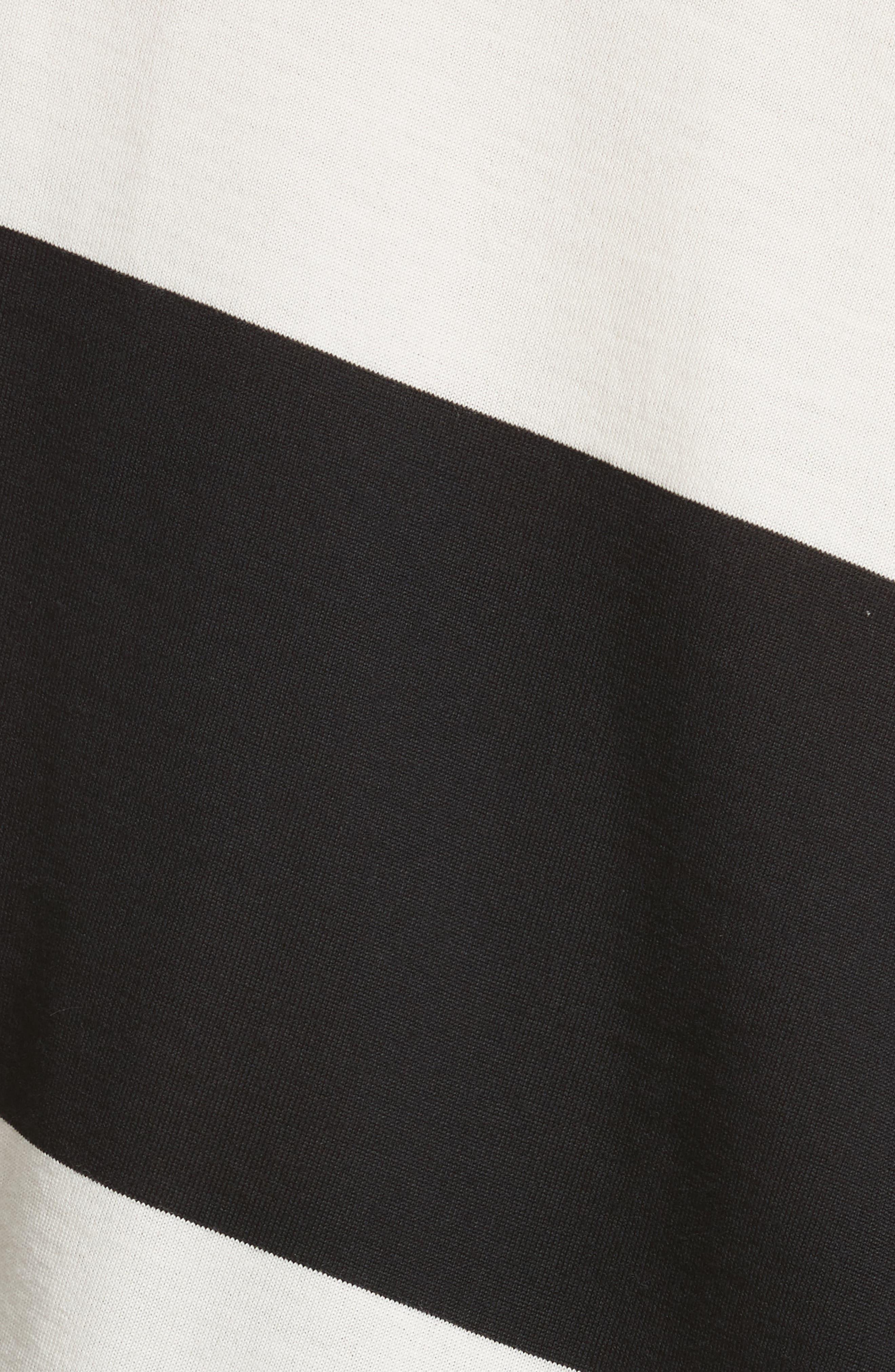 Bicolor Stripe Merino Wool Blend Sweater,                             Alternate thumbnail 5, color,                             Black/ Off White/ Yellow