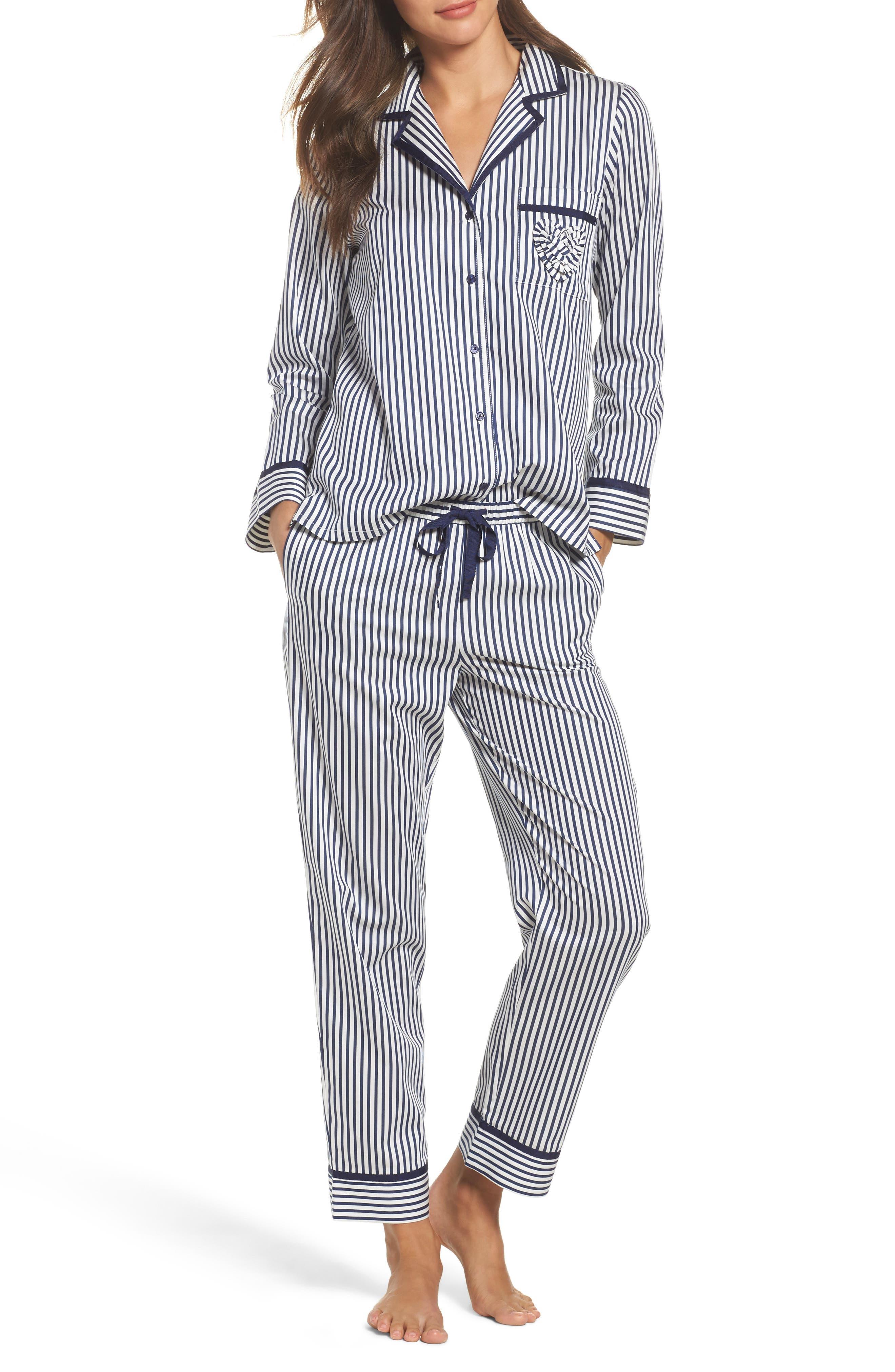 stripe pajamas,                             Main thumbnail 1, color,                             Navy Stripe