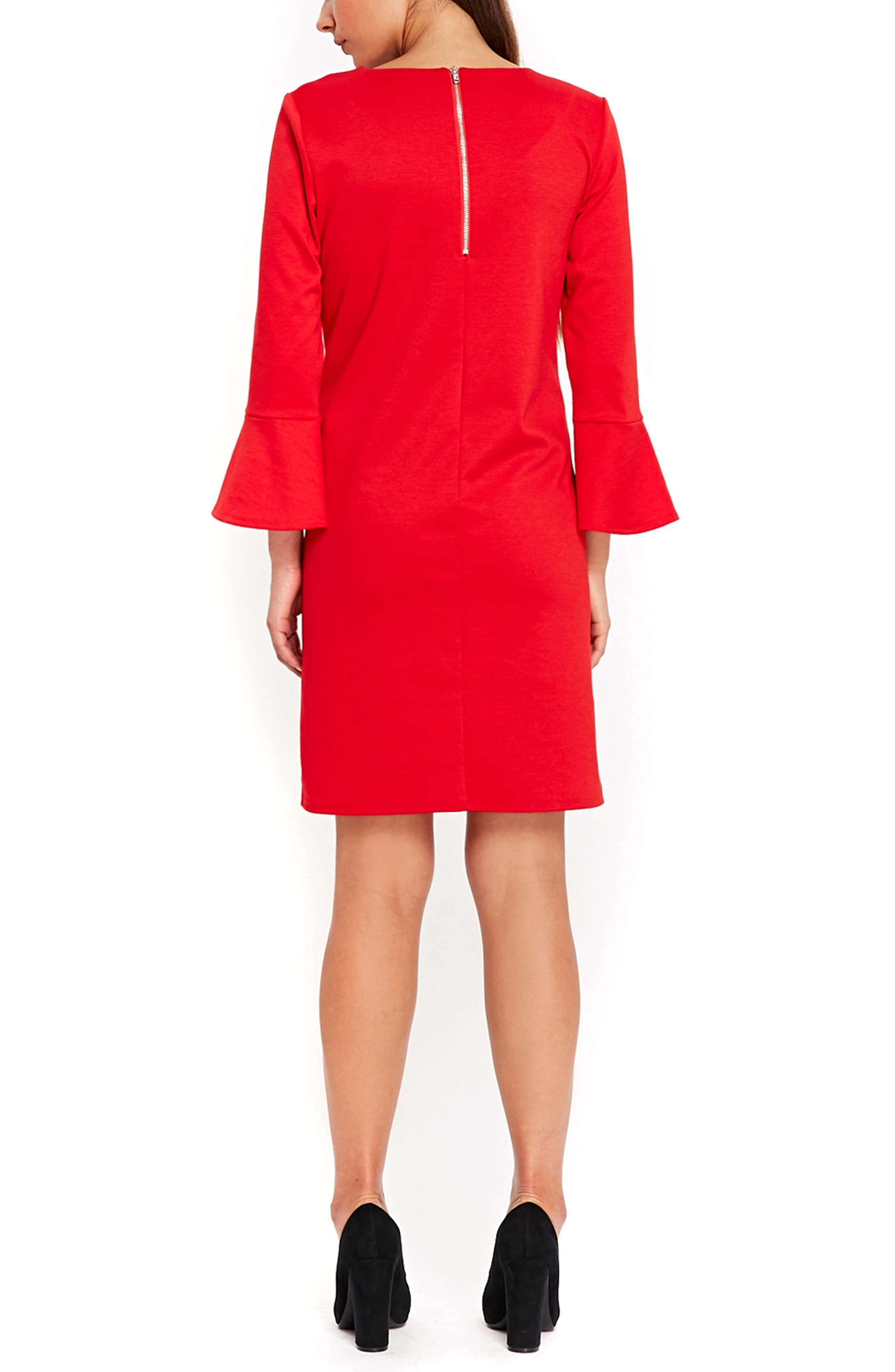 Bell Sleeve Keyhole Neck Dress,                             Alternate thumbnail 2, color,                             Red