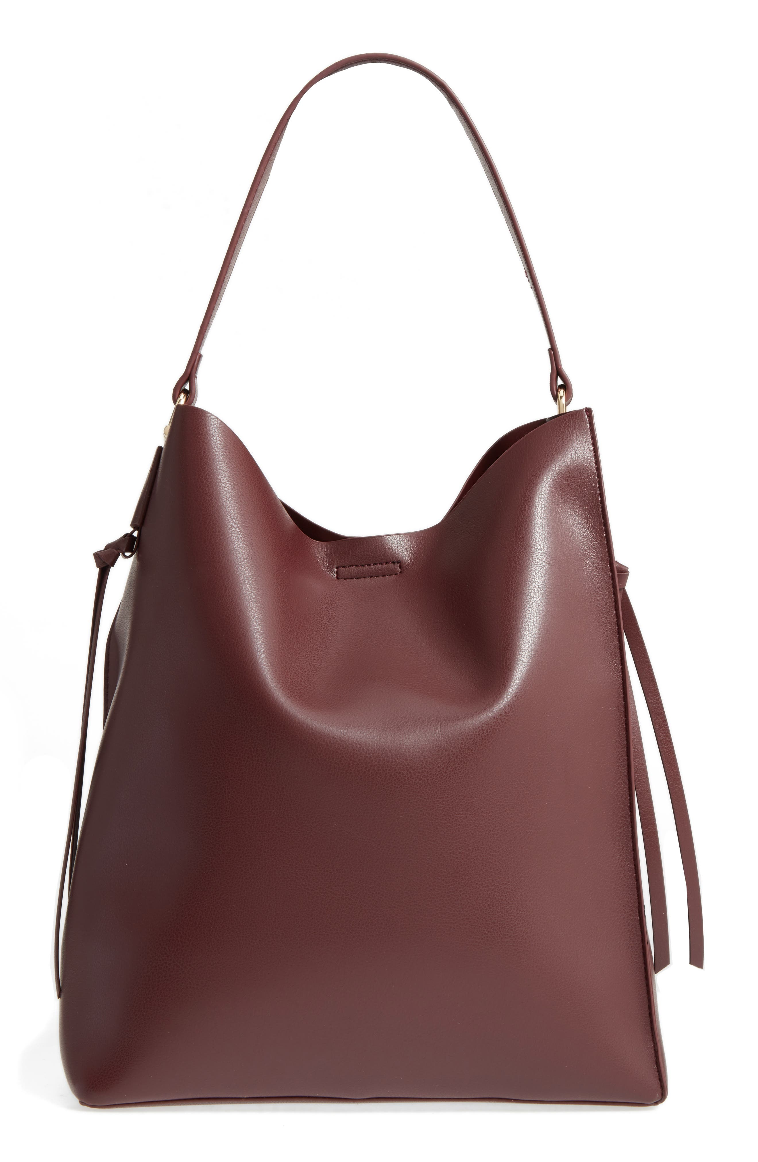 Prima Faux Leather Bucket Bag & Zip Pouch,                             Main thumbnail 1, color,                             Oxblood