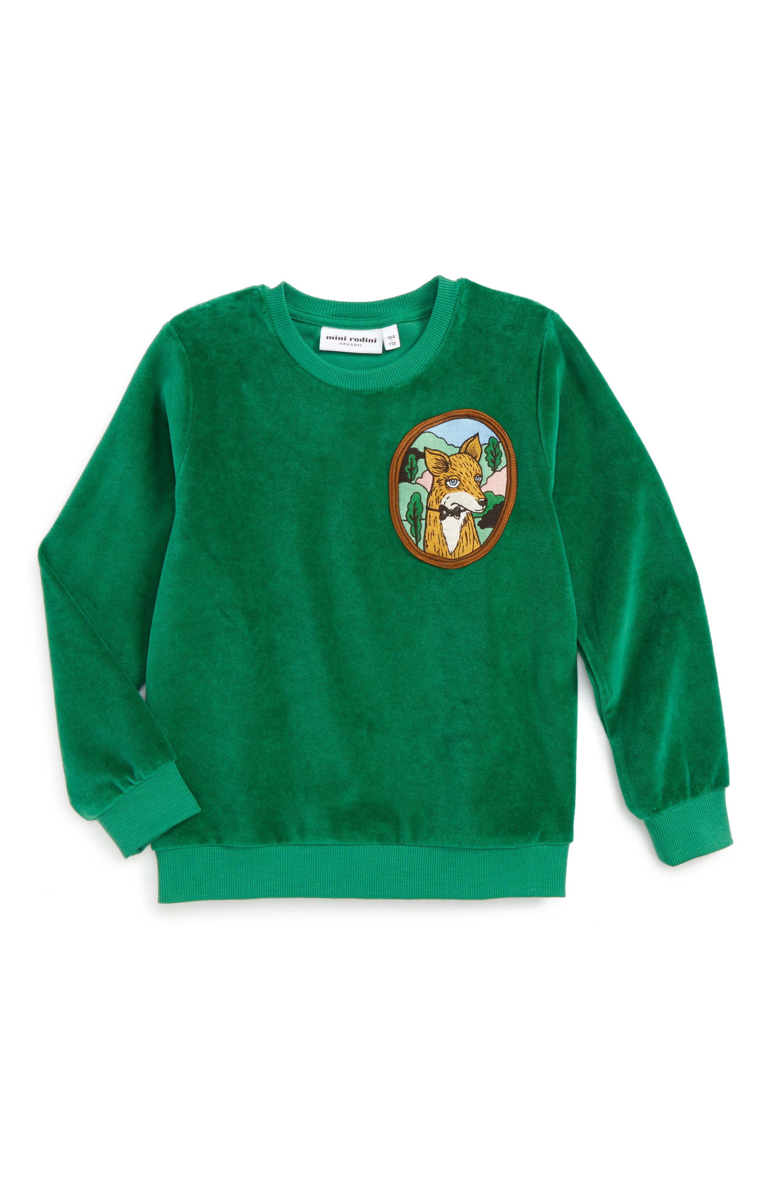 Main Image - Mini Rodini Fox Patch Velour Sweatshirt (Toddler Boys & Little Boys)