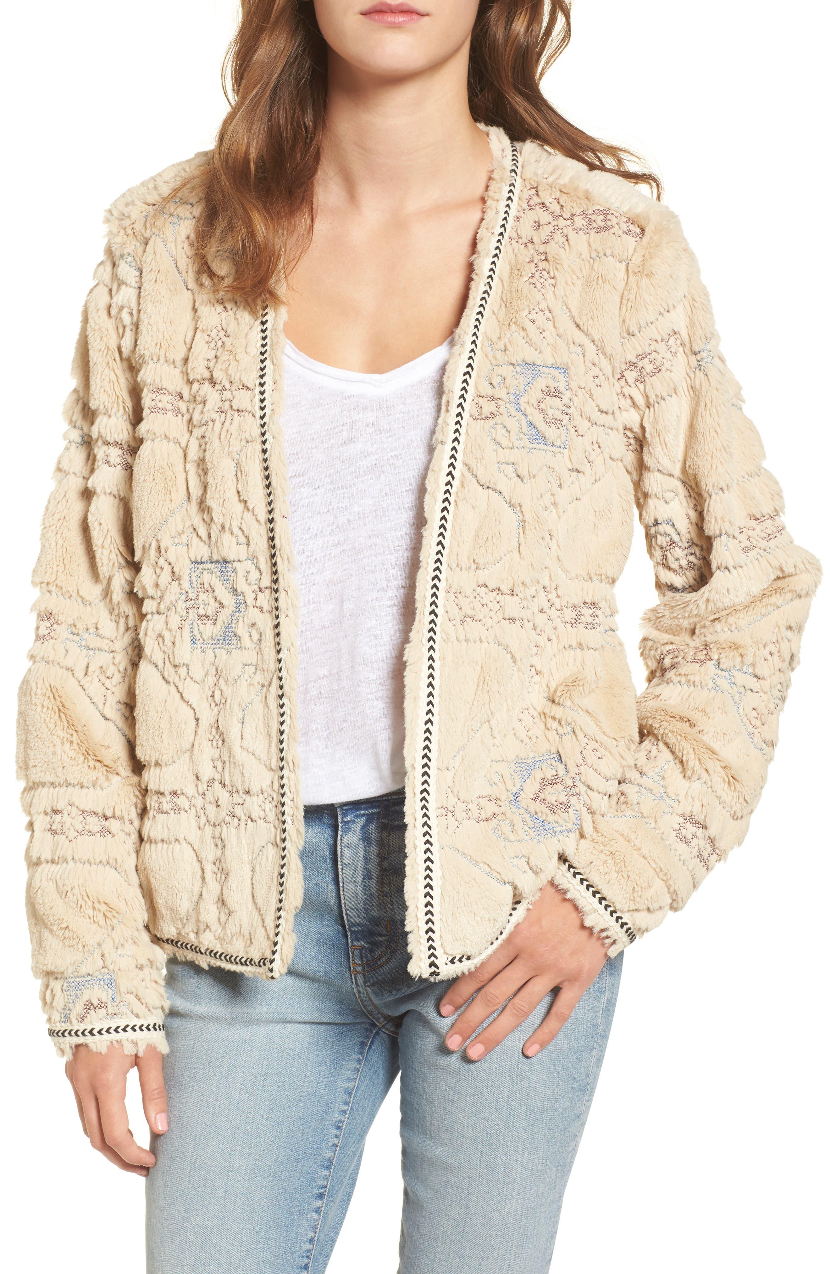 BNCI Embossed Faux Fur Cardigan,                         Main,                         color, Cream