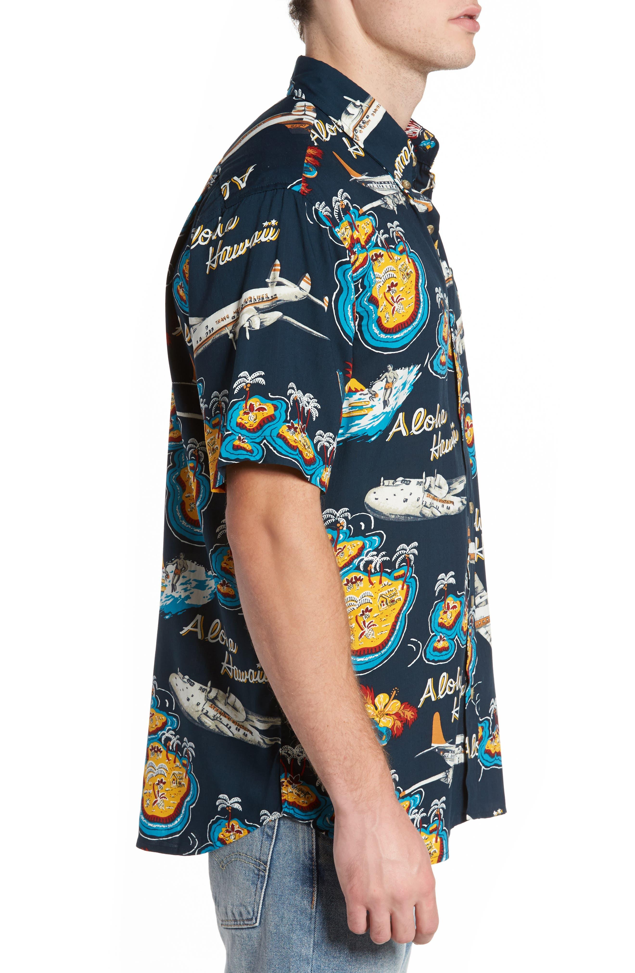 Birds in Paradise Modern Fit Shirt,                             Alternate thumbnail 3, color,                             Navy