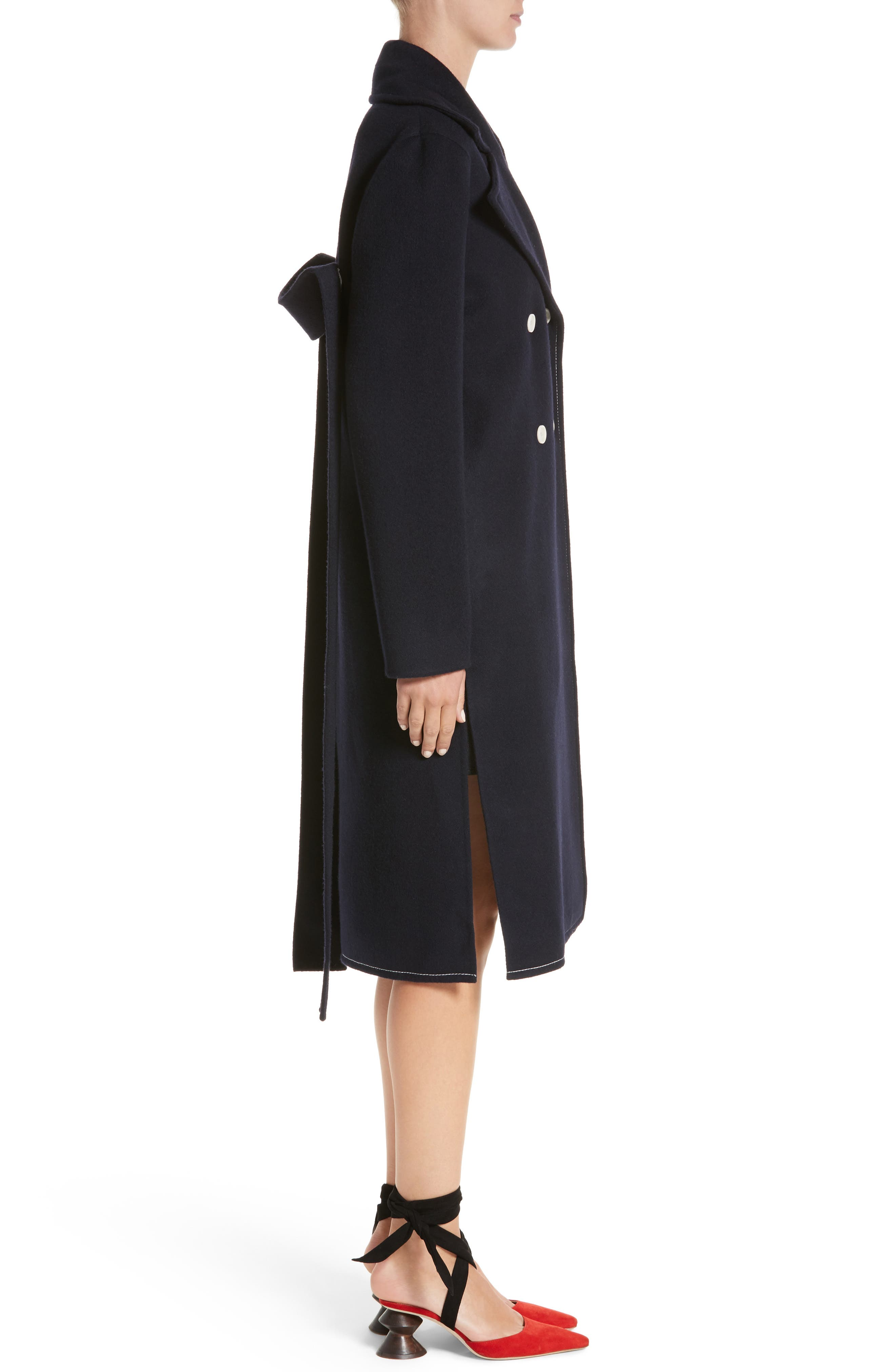 Double Breasted Wool Blend Coat,                             Alternate thumbnail 3, color,                             Wool Navy