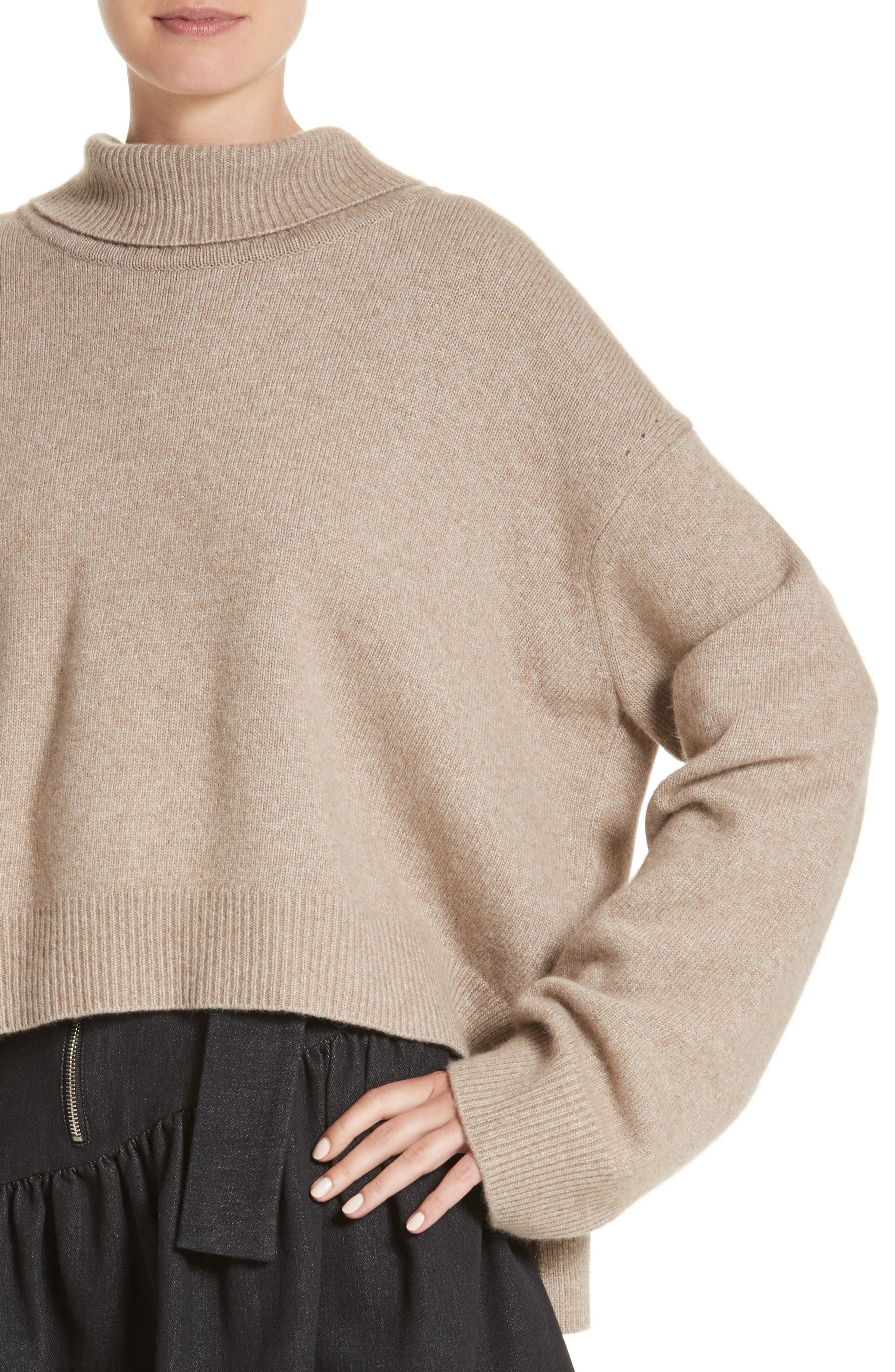 Oversized Tie Back Sweater,                             Alternate thumbnail 3, color,                             Knit Beige