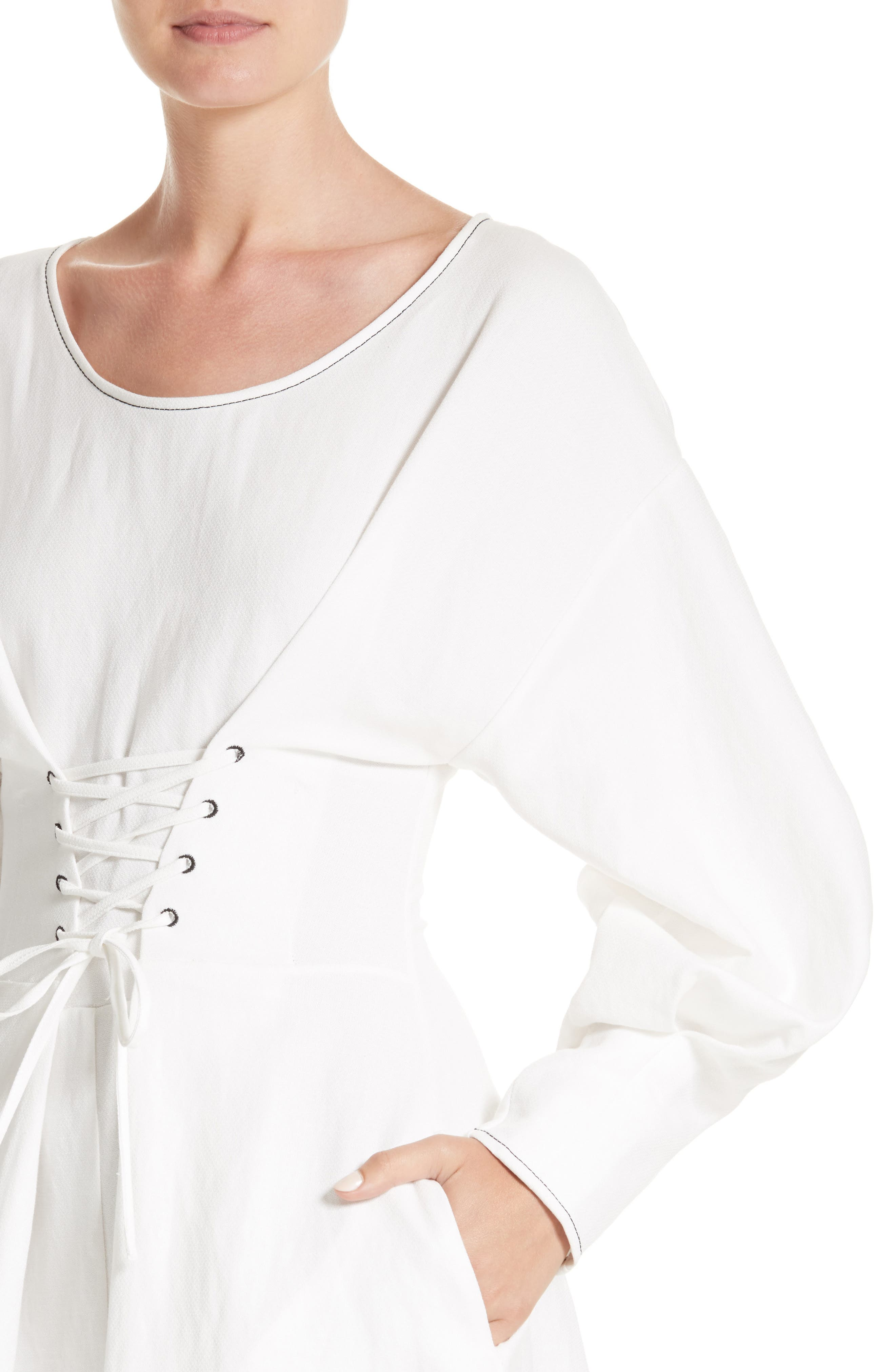 Corset Laced Linen Blend Dress,                             Alternate thumbnail 3, color,                             Linen Off-White
