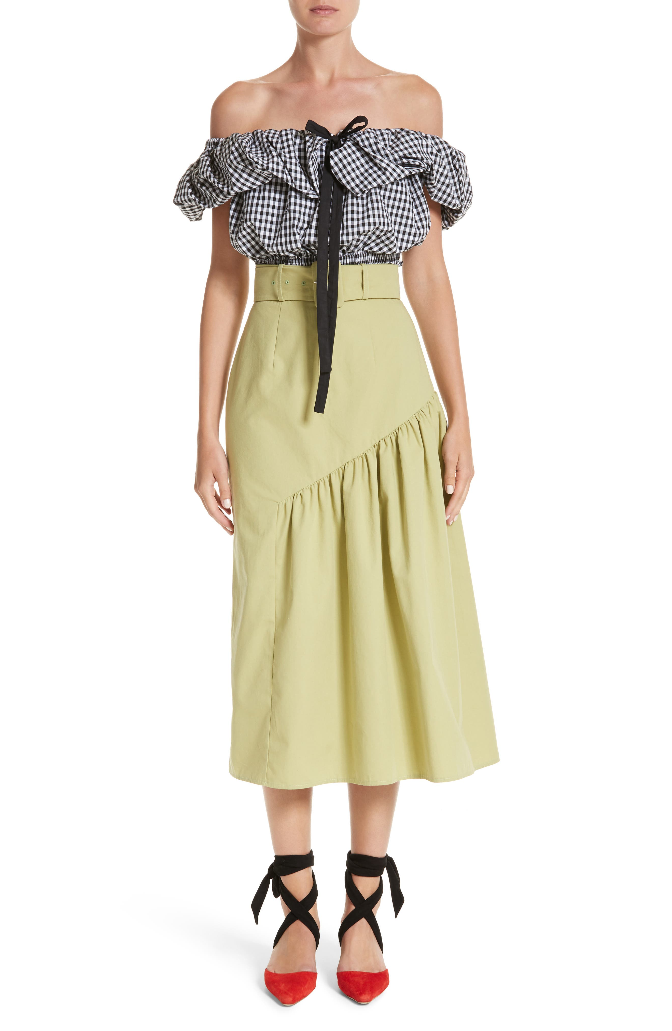 Belted High Waist Ruffle Skirt,                             Alternate thumbnail 6, color,                             Cotton Sage Green
