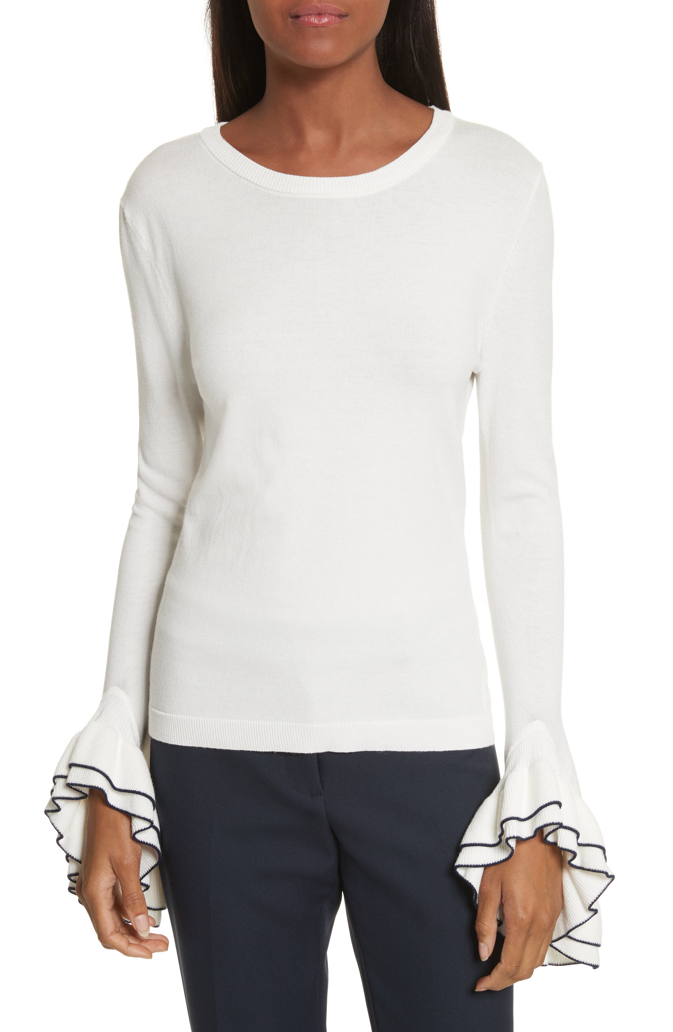 Tiered Ruffle Sleeve Sweater,                         Main,                         color, White/ Navy