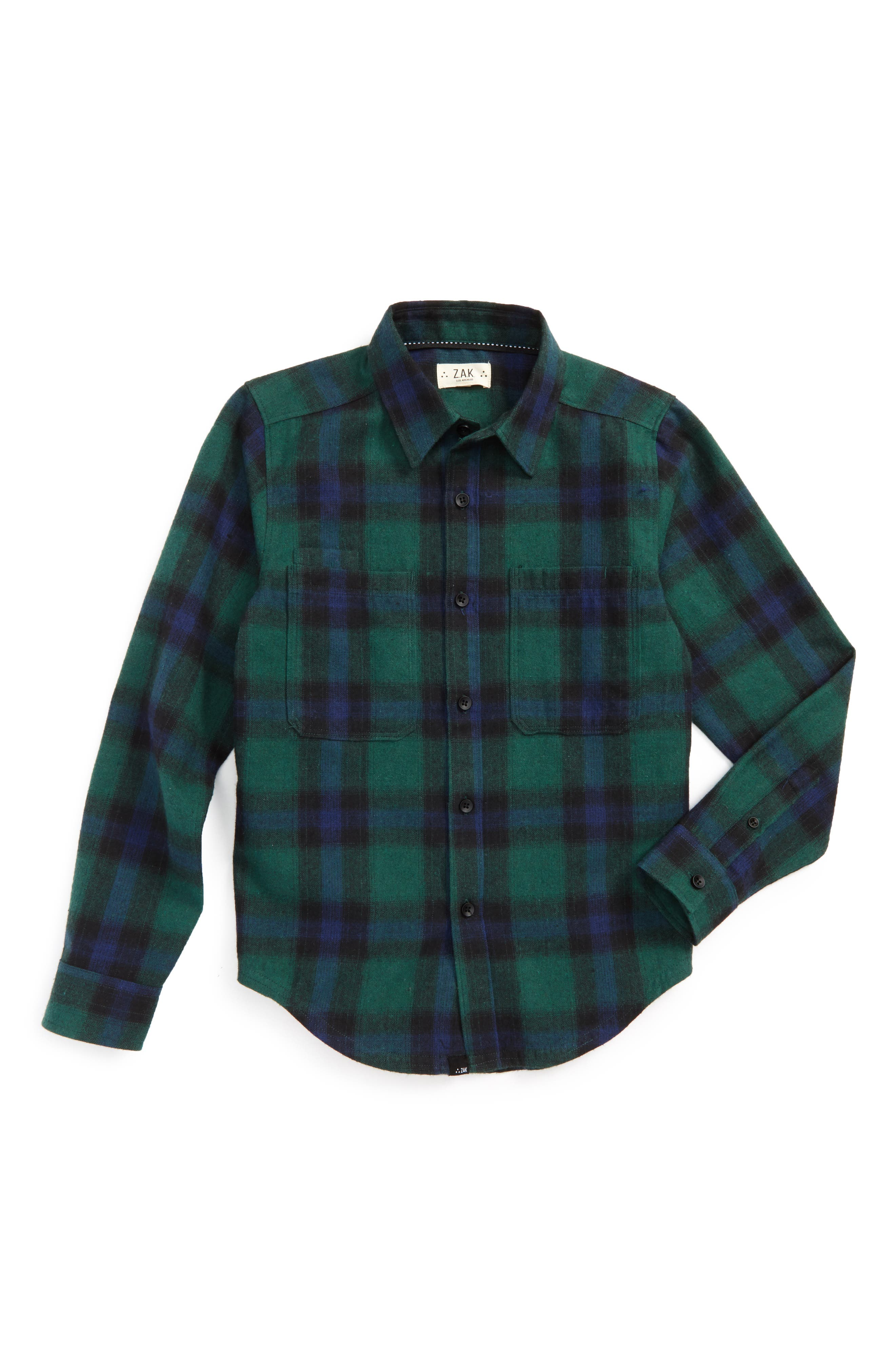 Woven Flannel Shirt,                         Main,                         color, Green/ Navy