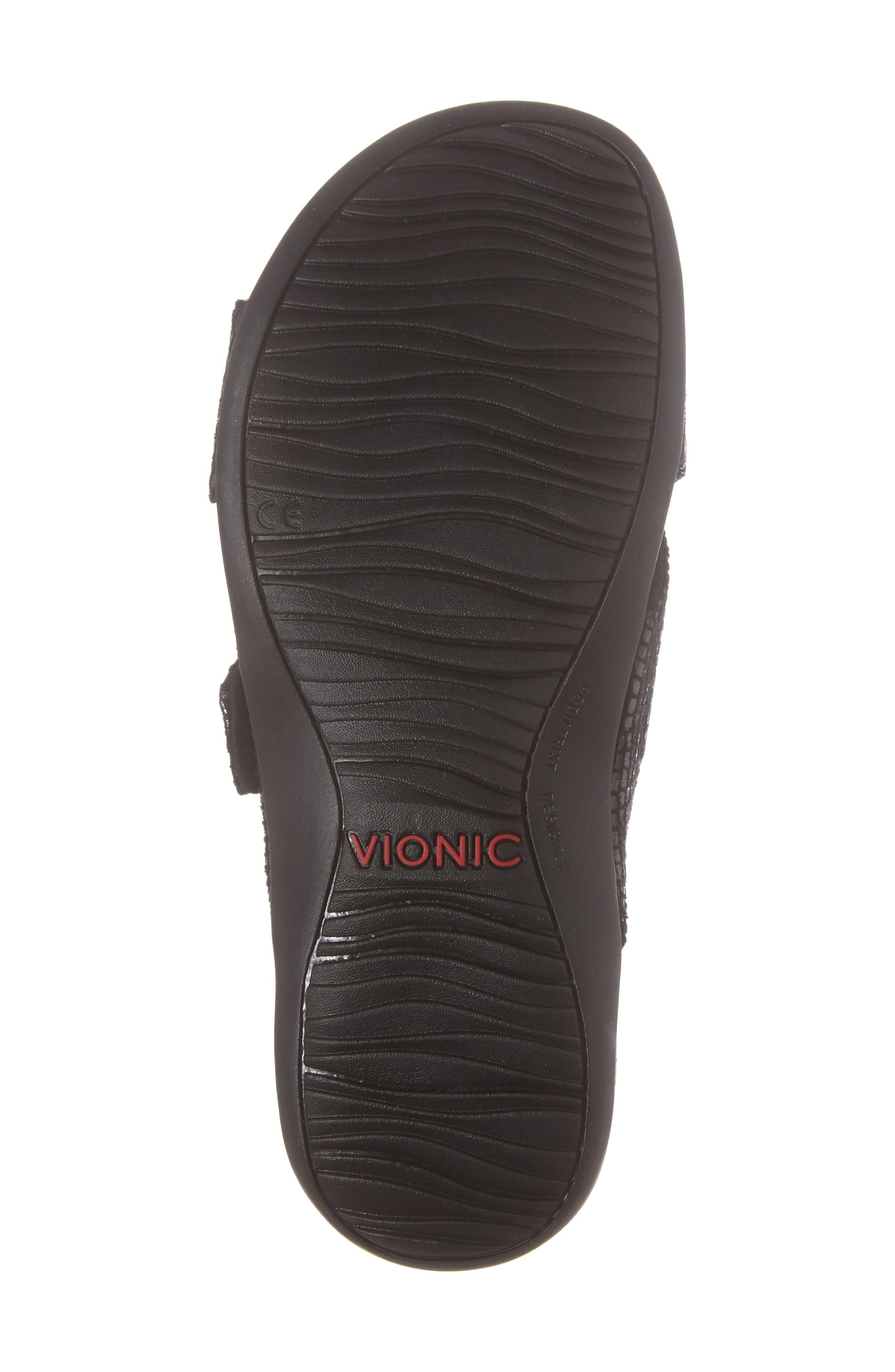 Dorie Cross Strap Slide Sandal,                             Alternate thumbnail 6, color,                             Black Snake Faux Leather