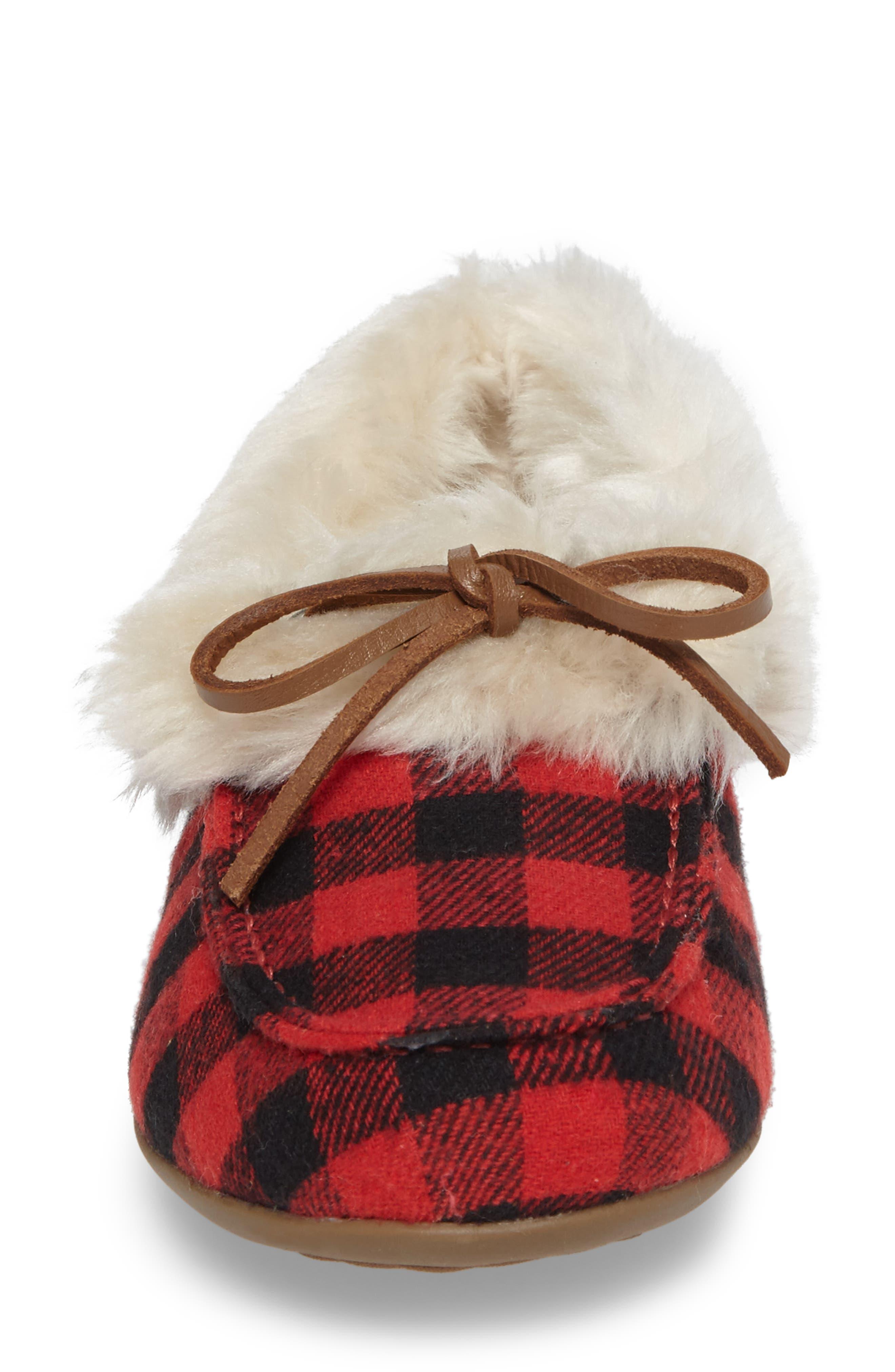 Juniper Faux Fur Slipper,                             Alternate thumbnail 4, color,                             Black Red Textile