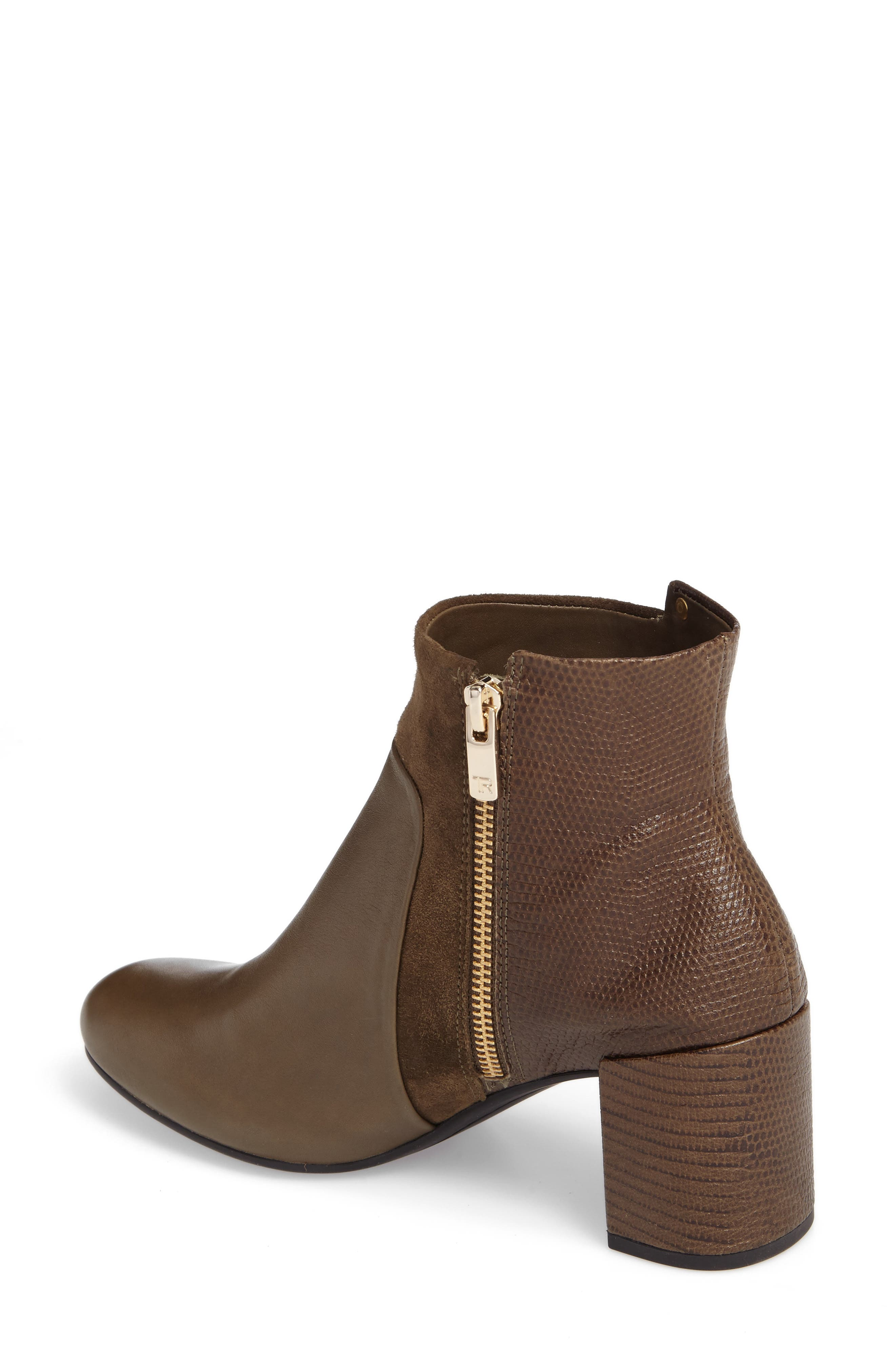 Camille Block Heel Bootie,                             Alternate thumbnail 2, color,                             Olive Leather