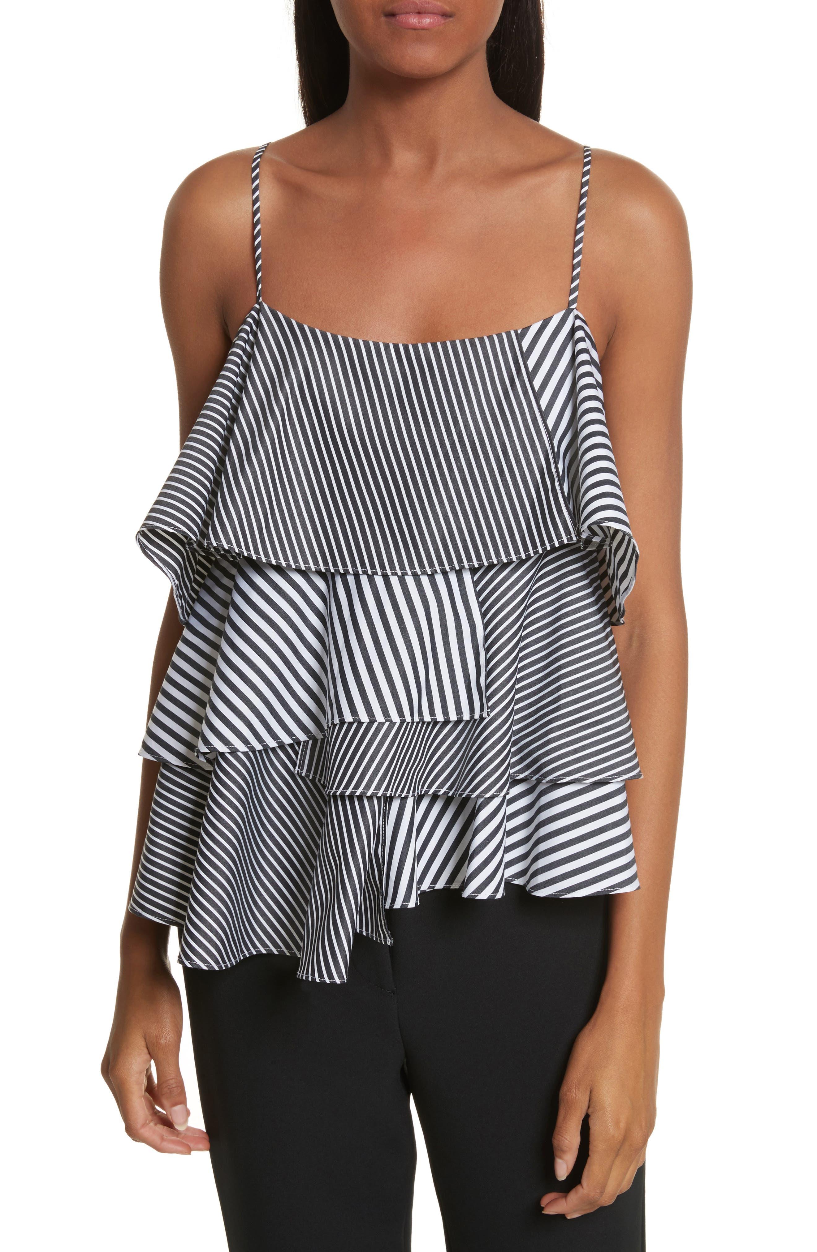 Emma Stripe Shirting Top,                         Main,                         color, Black