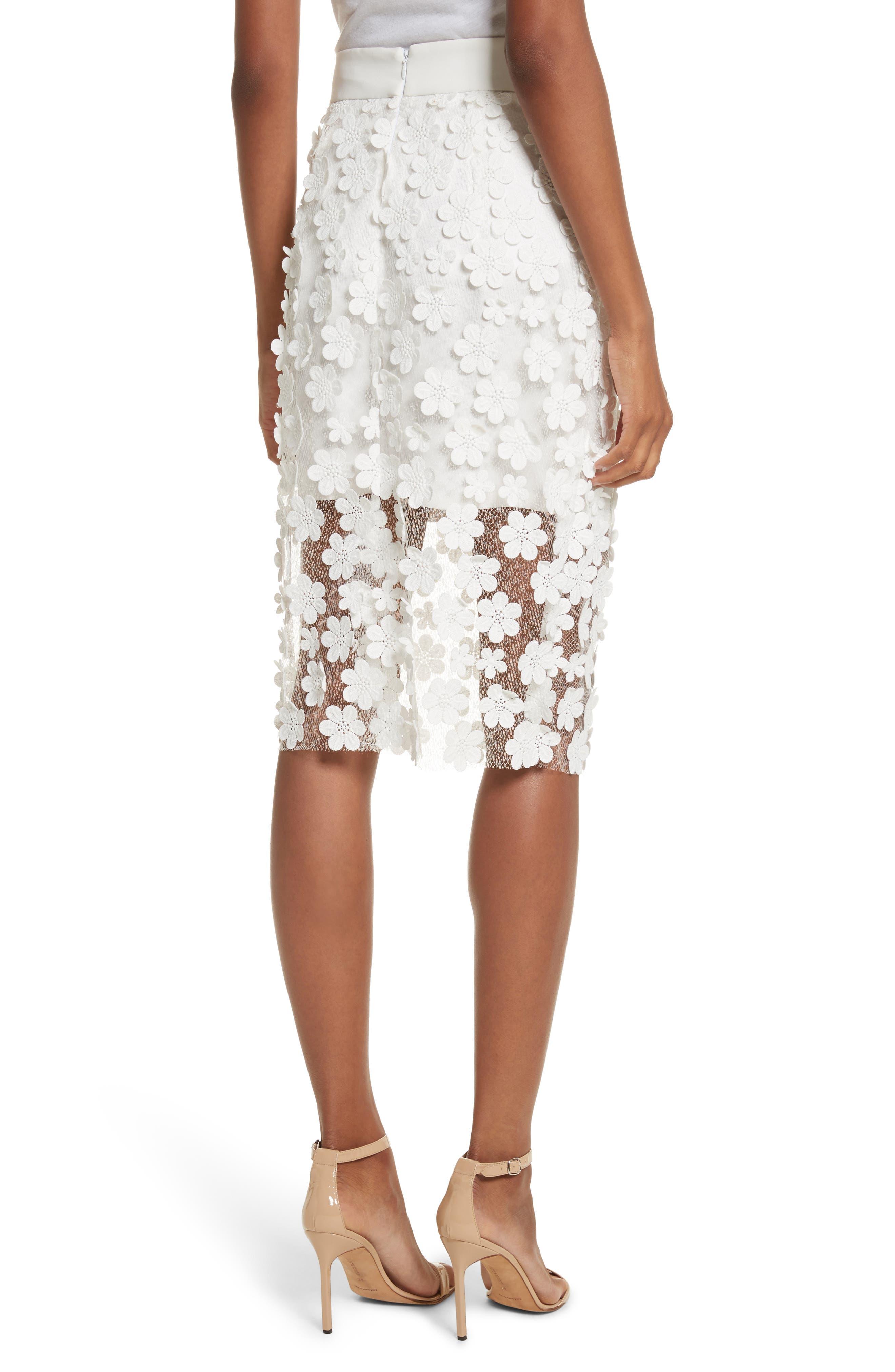 Floral Appliqué Skirt,                             Alternate thumbnail 2, color,                             White