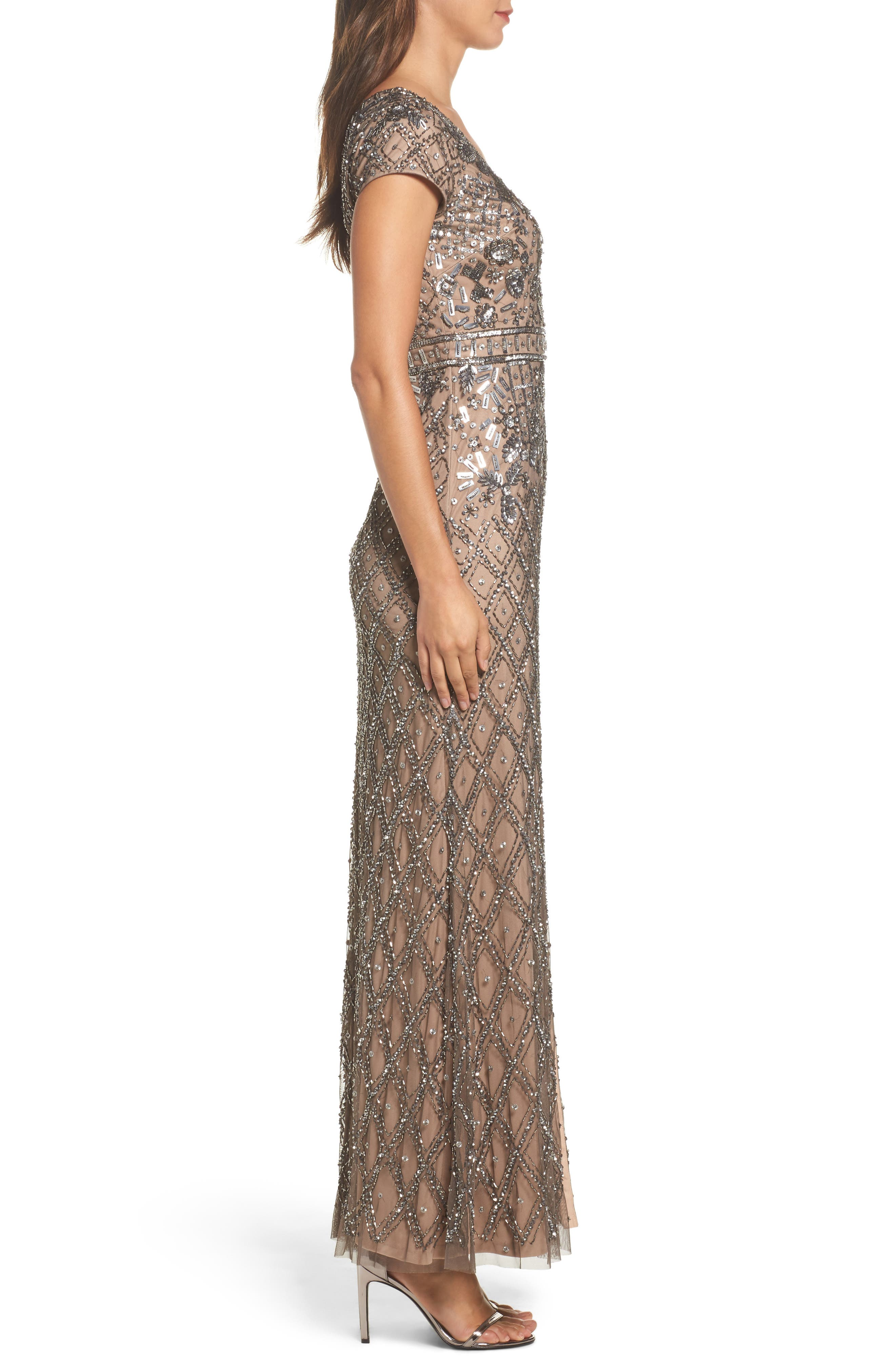 Beaded V-Neck Mesh Gown,                             Alternate thumbnail 3, color,                             Lead/ Nude