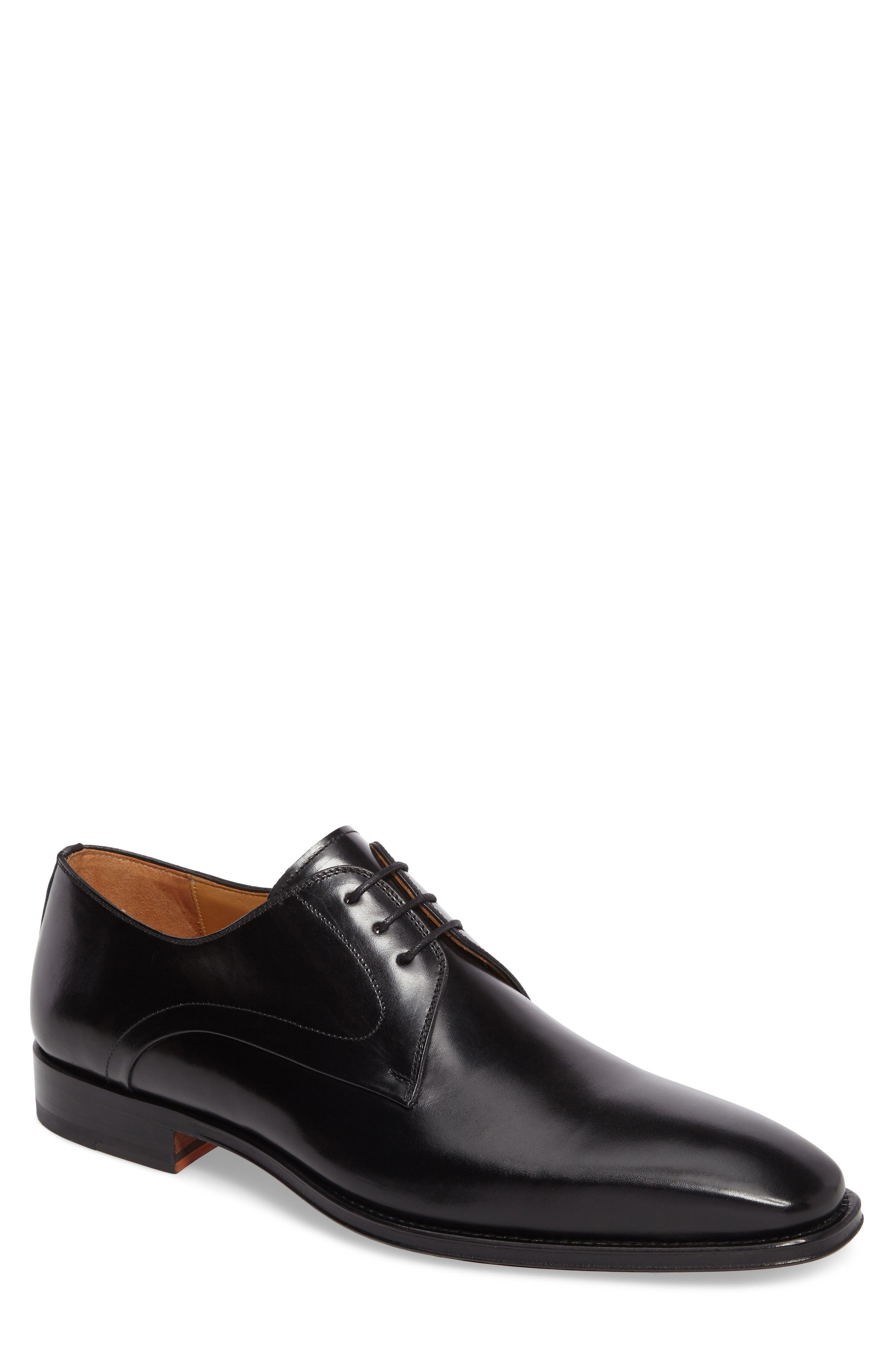 Mario Plain Toe Derby,                         Main,                         color, Black Leather