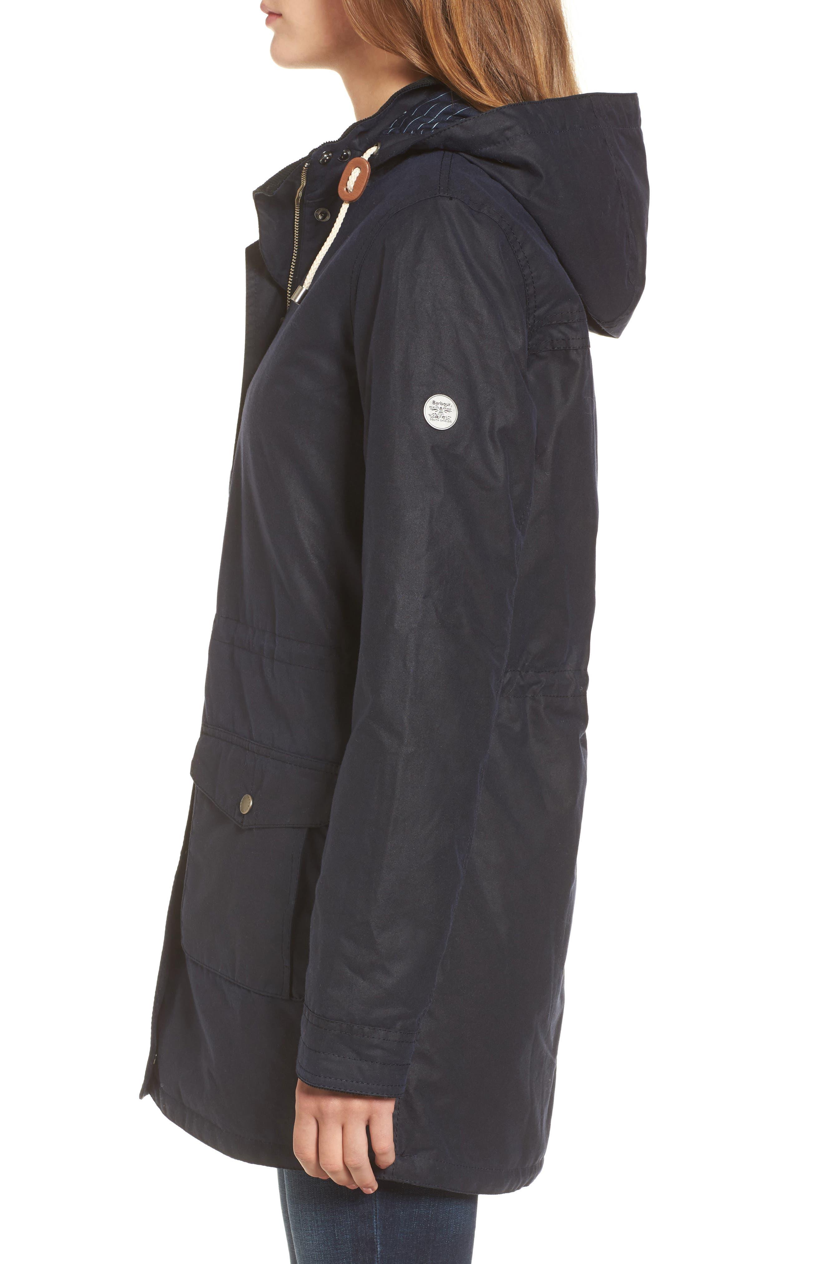 Selsey Waxed Canvas Hooded Jacket,                             Alternate thumbnail 3, color,                             Royal Navy