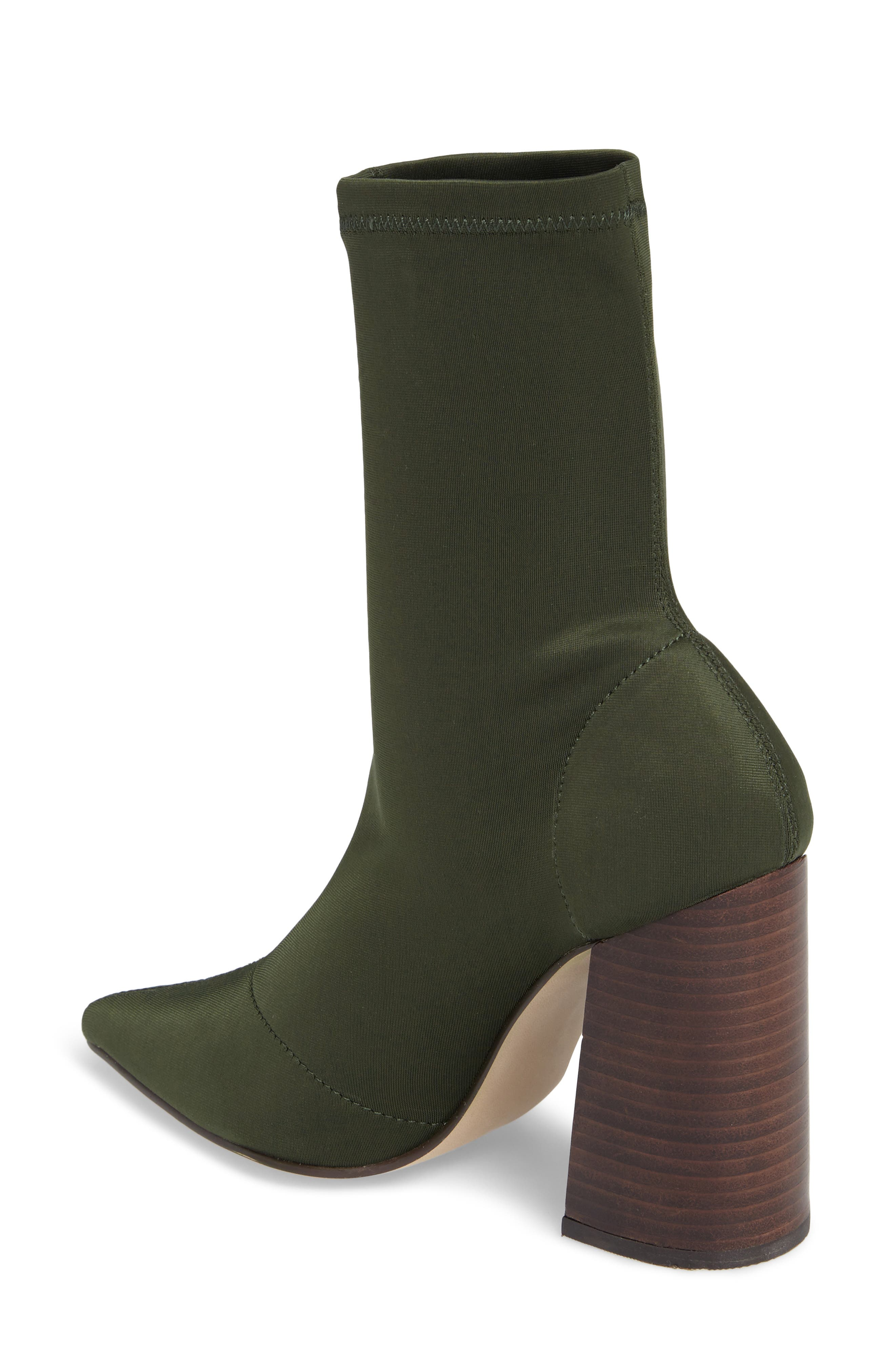Lombard Pointy Toe Sock Bootie,                             Alternate thumbnail 3, color,                             Olive