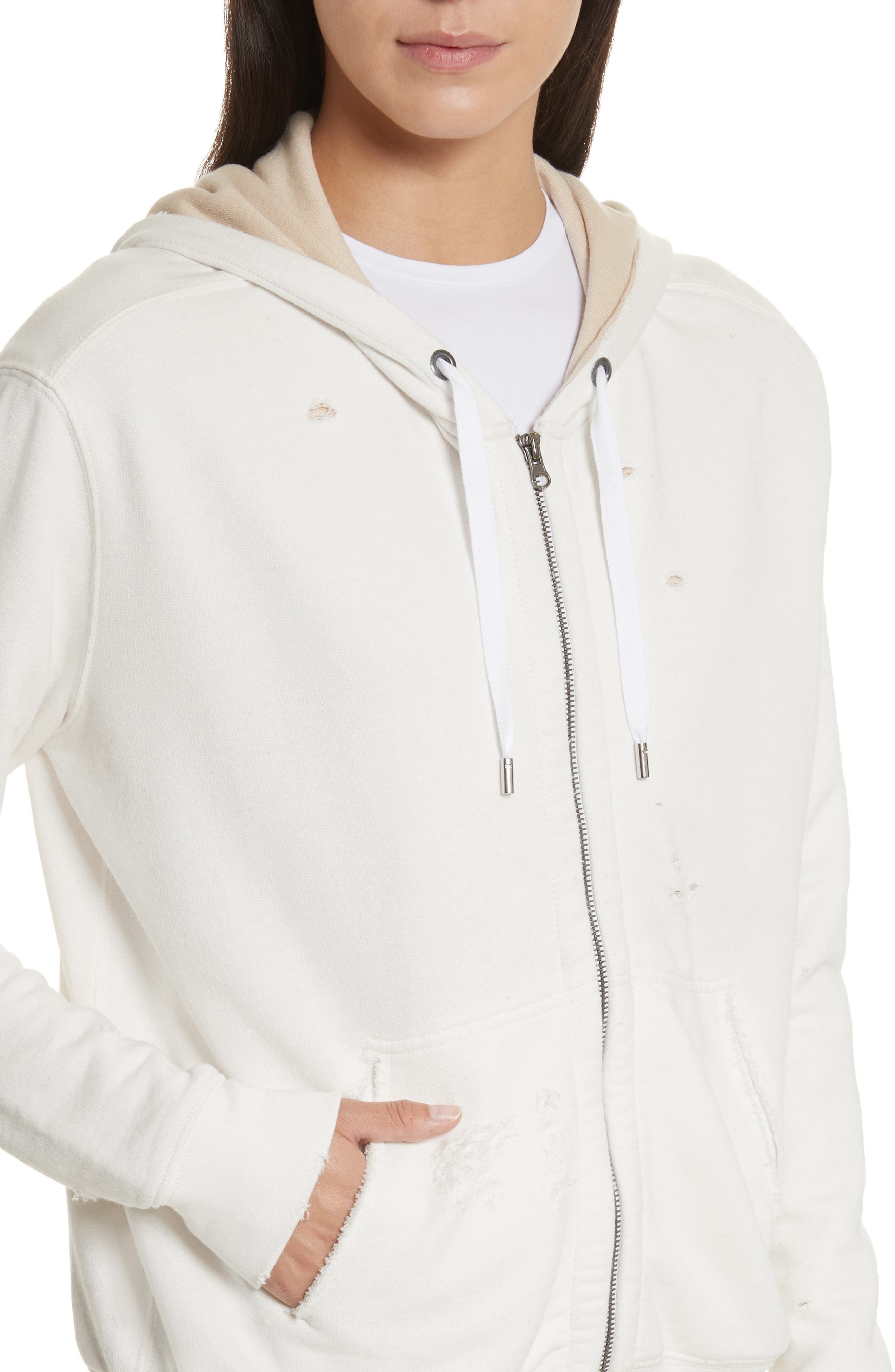 Double Layer French Terry Hoodie,                             Alternate thumbnail 4, color,                             Chalk/ Sandstone