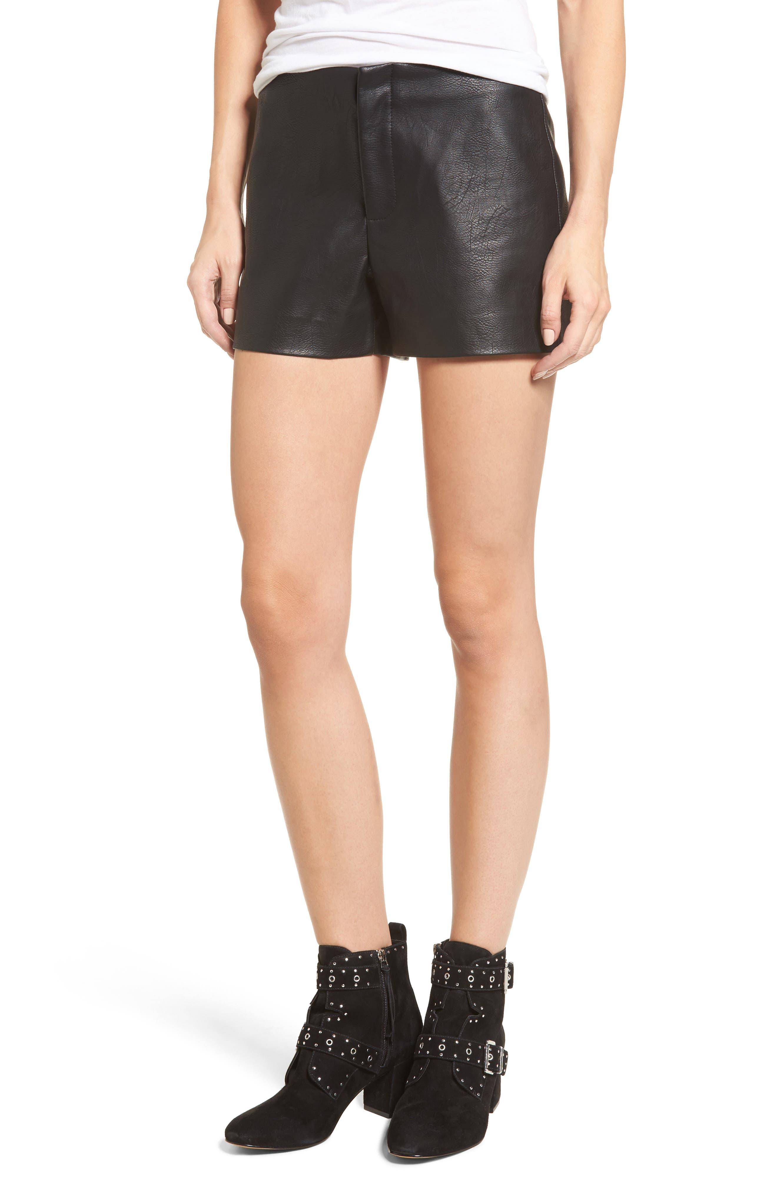 Faux Leather Shorts,                         Main,                         color, Black