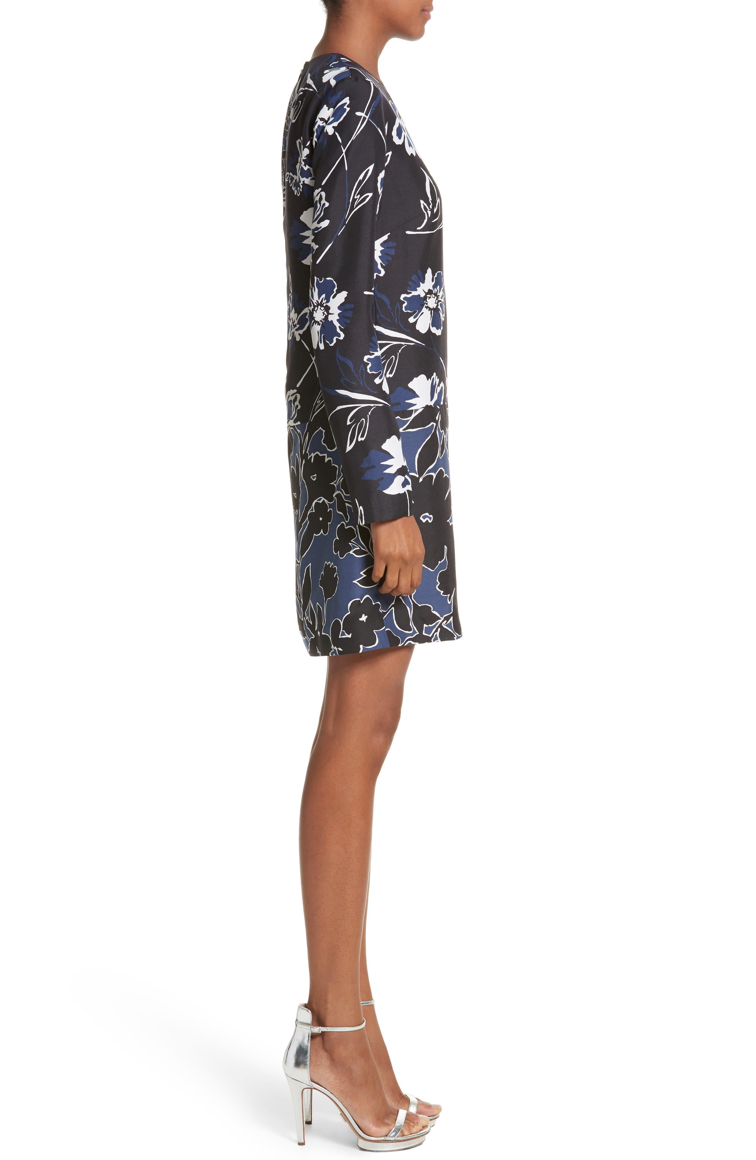 Floral Dupioni Silk Shift Dress,                             Alternate thumbnail 3, color,                             Sapphire