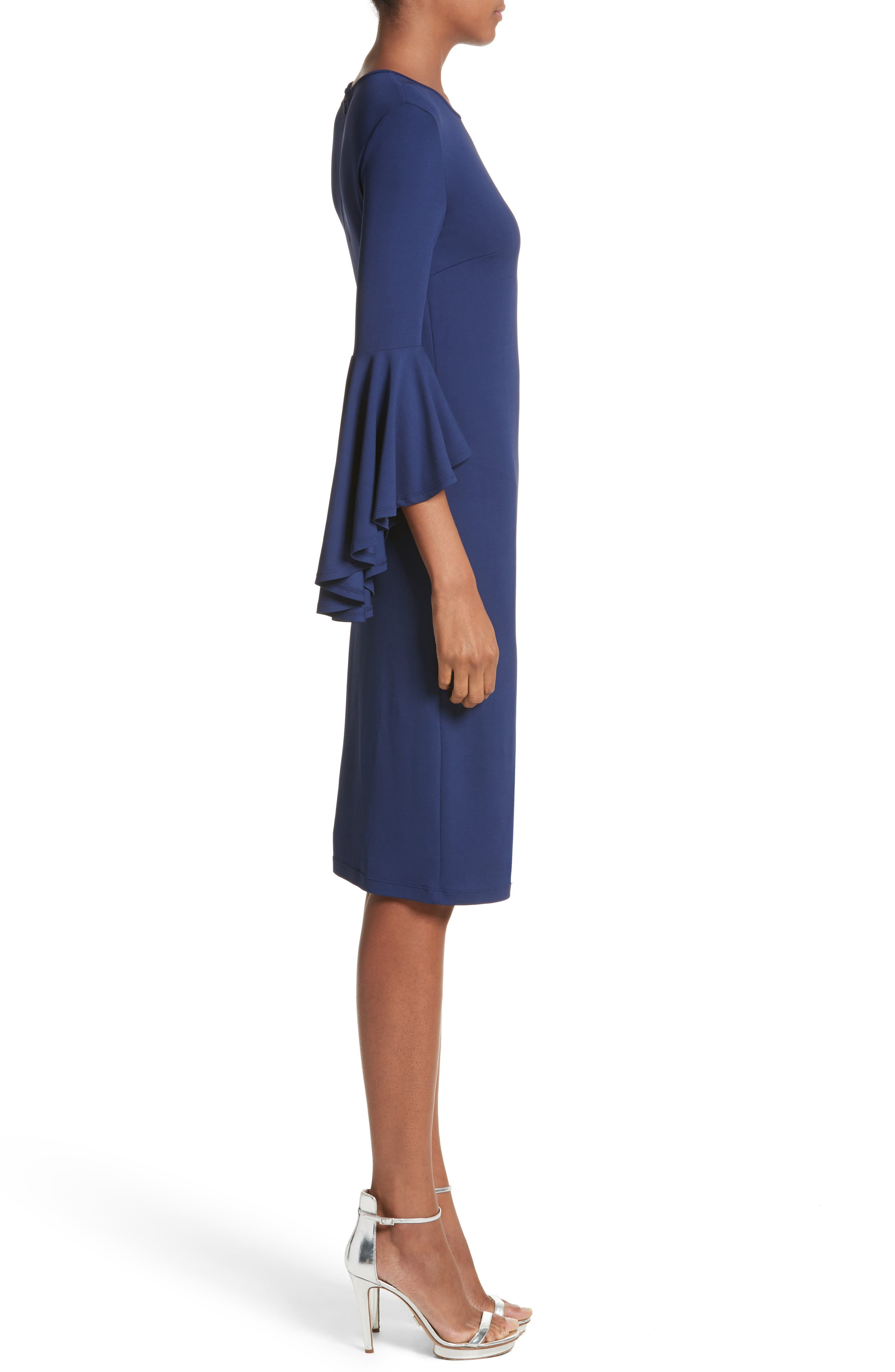Cascade Sleeve Sheath Dress,                             Alternate thumbnail 3, color,                             Sapphire