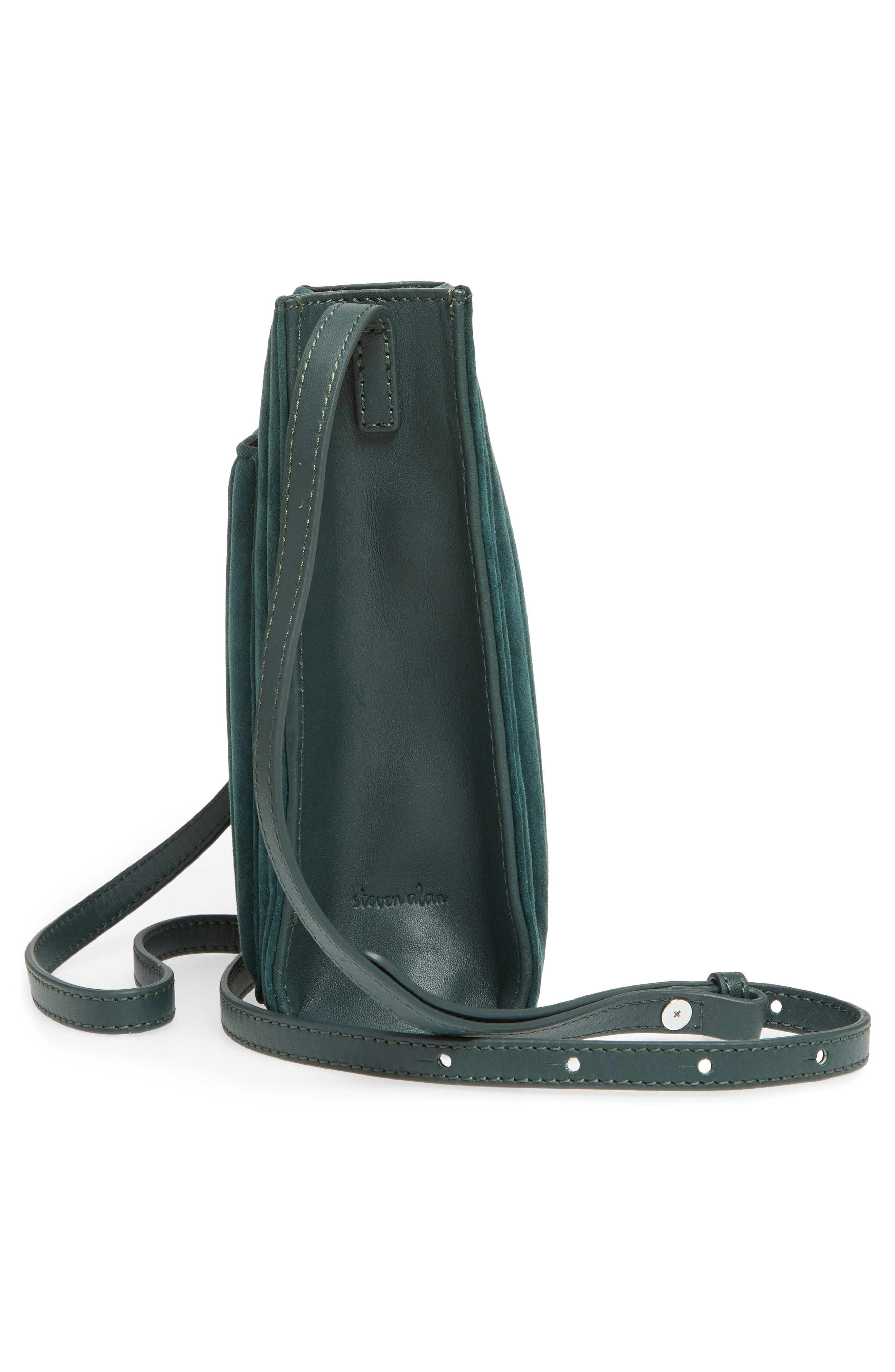 Camden Leather Crossbody Bag,                             Alternate thumbnail 5, color,                             Ink Green Quilted