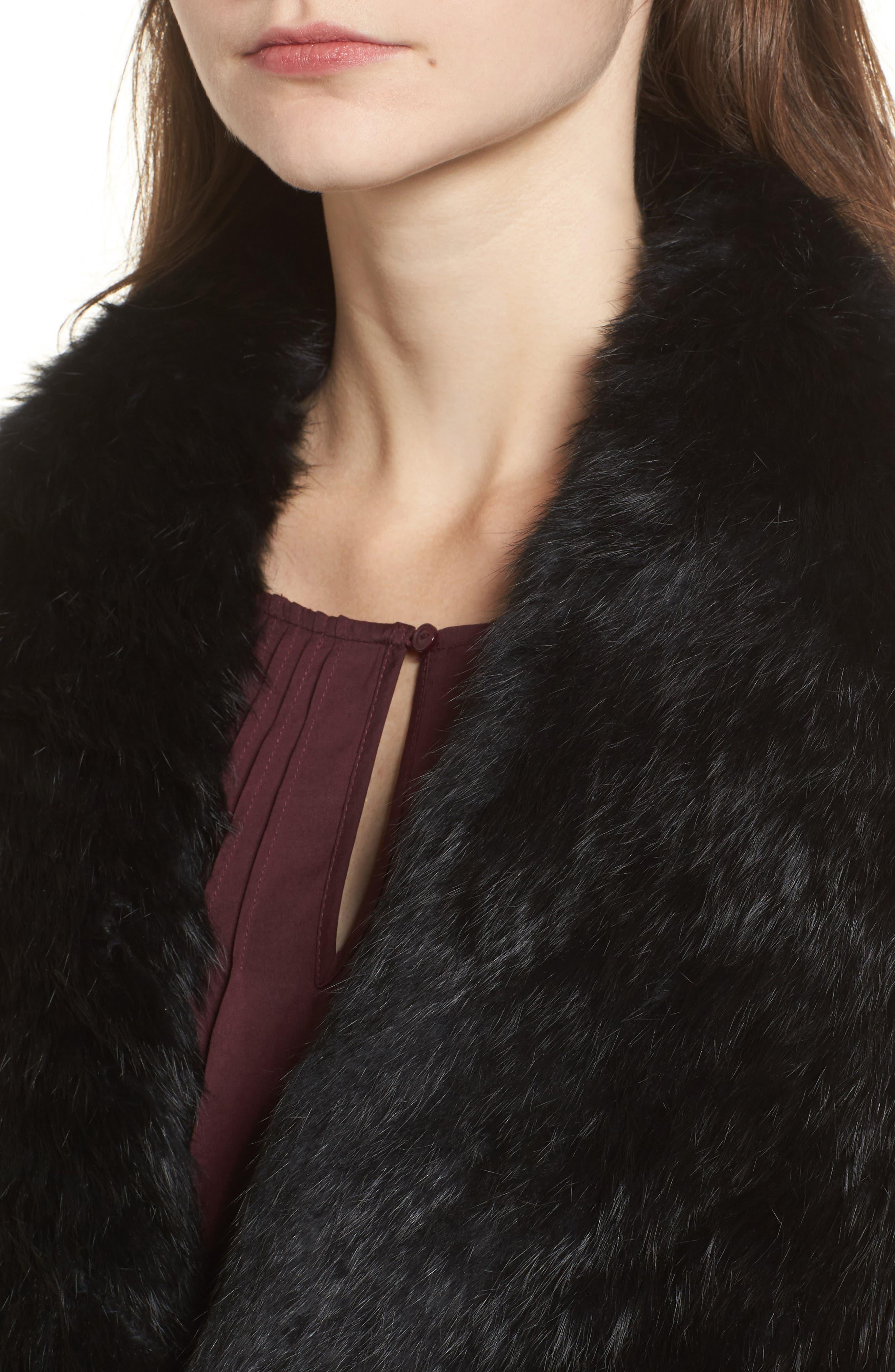 Alternate Image 4  - Love Token Long Drape Genuine Rabbit Fur Vest