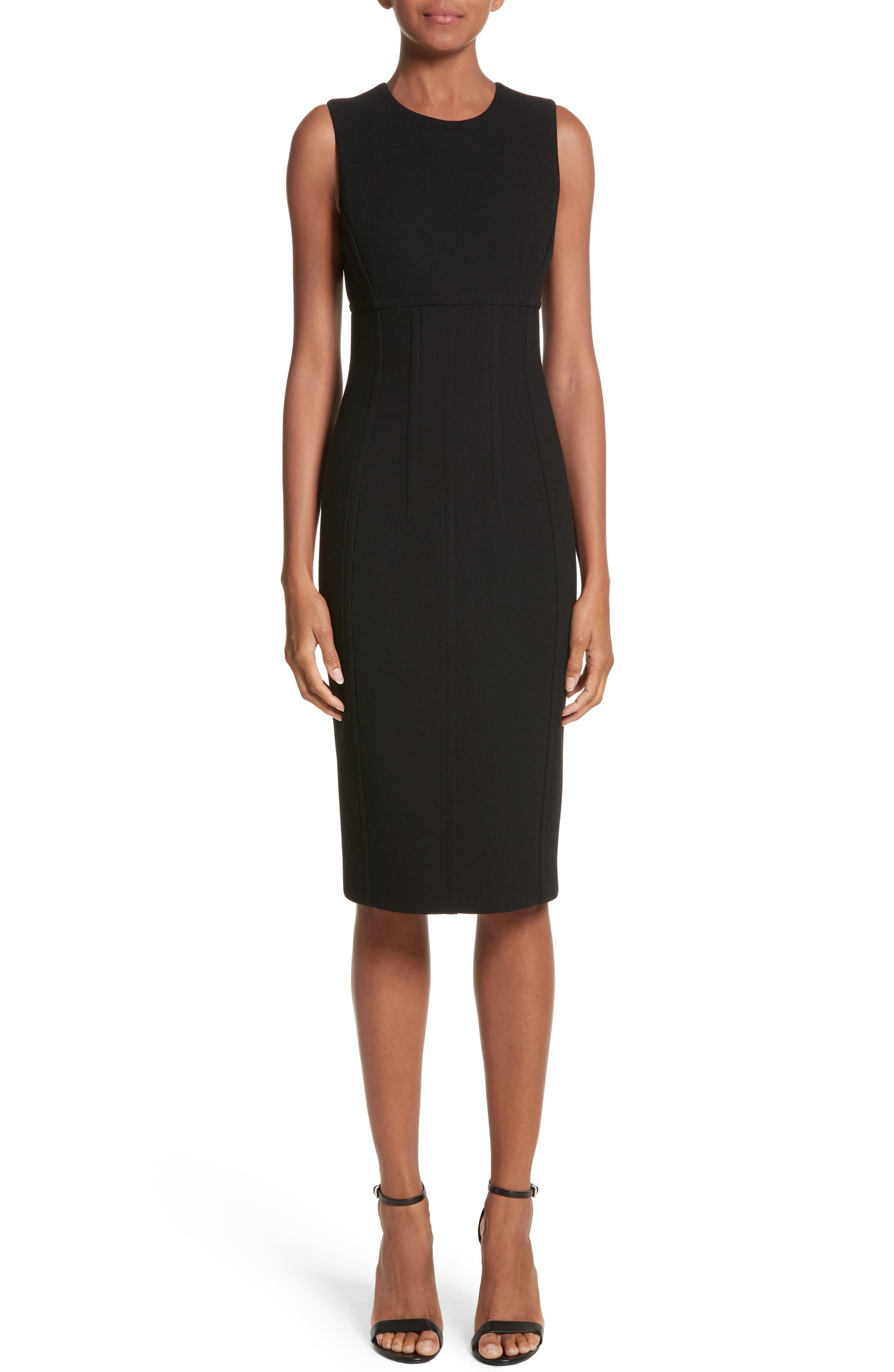 Stretch Bouclé Crepe Sheath Dress,                         Main,                         color, Black