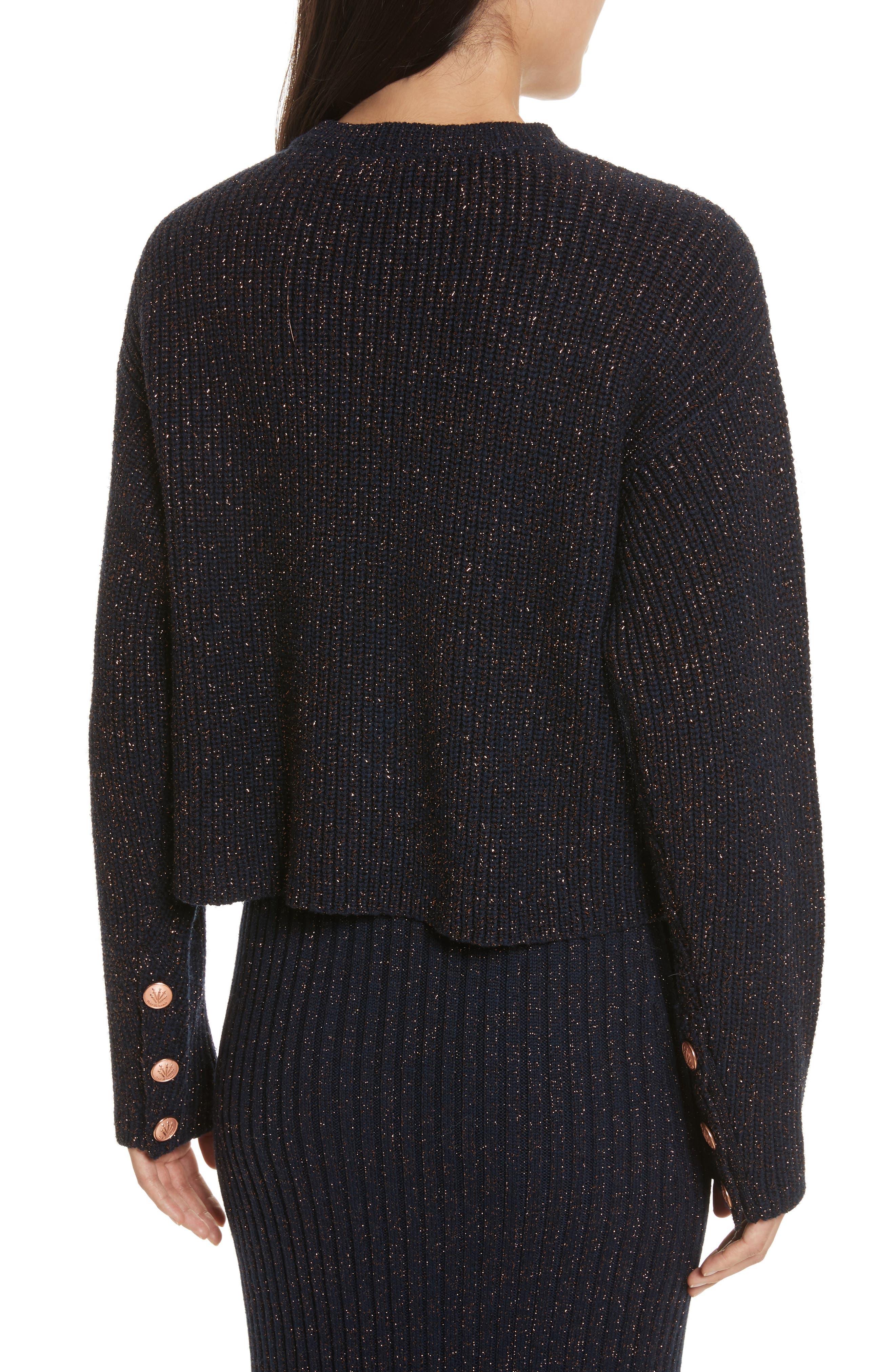 Leyton Metallic Knit Merino Wool Blend Sweater,                             Alternate thumbnail 3, color,                             Navy
