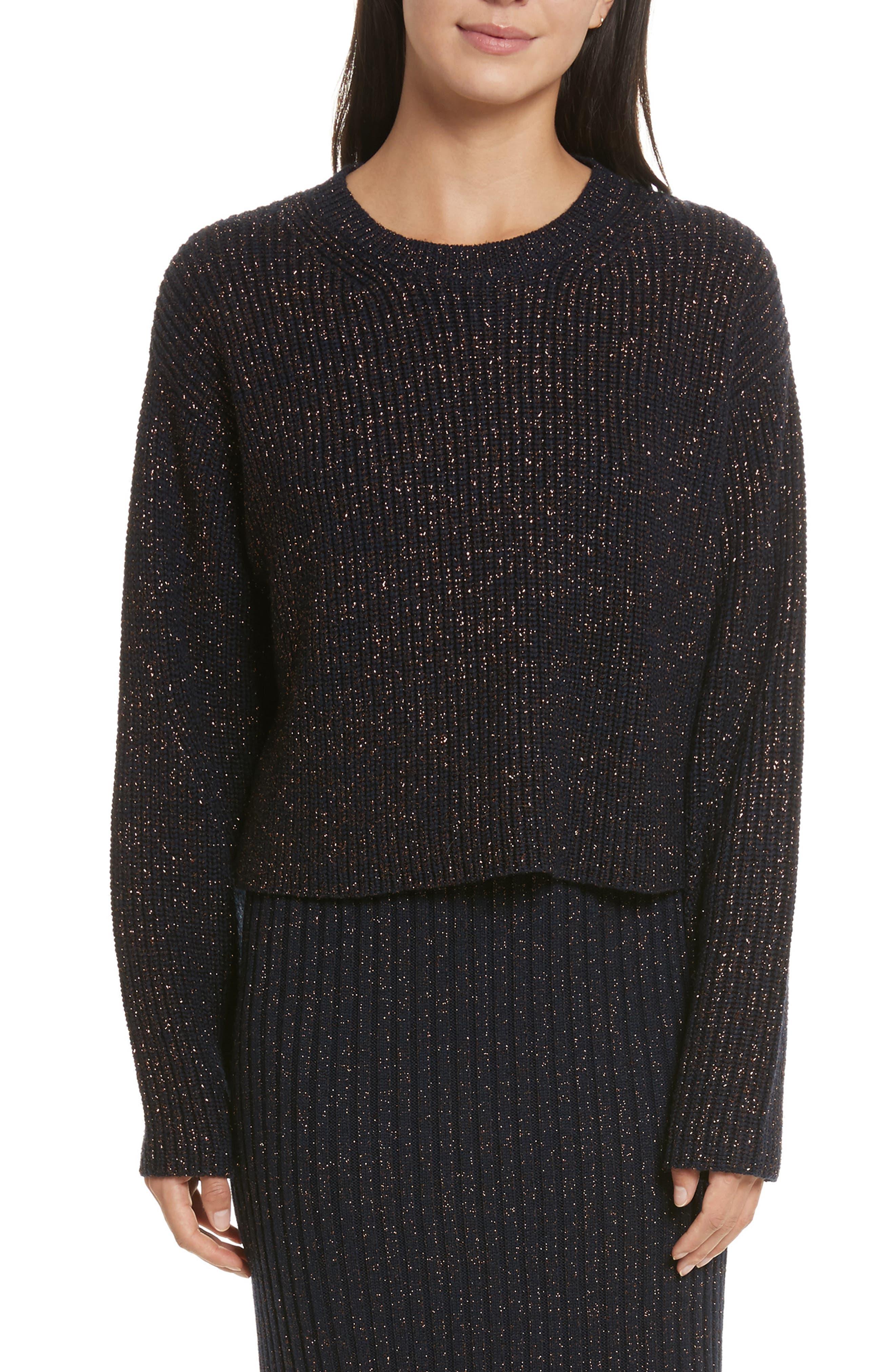 Leyton Metallic Knit Merino Wool Blend Sweater,                         Main,                         color, Navy