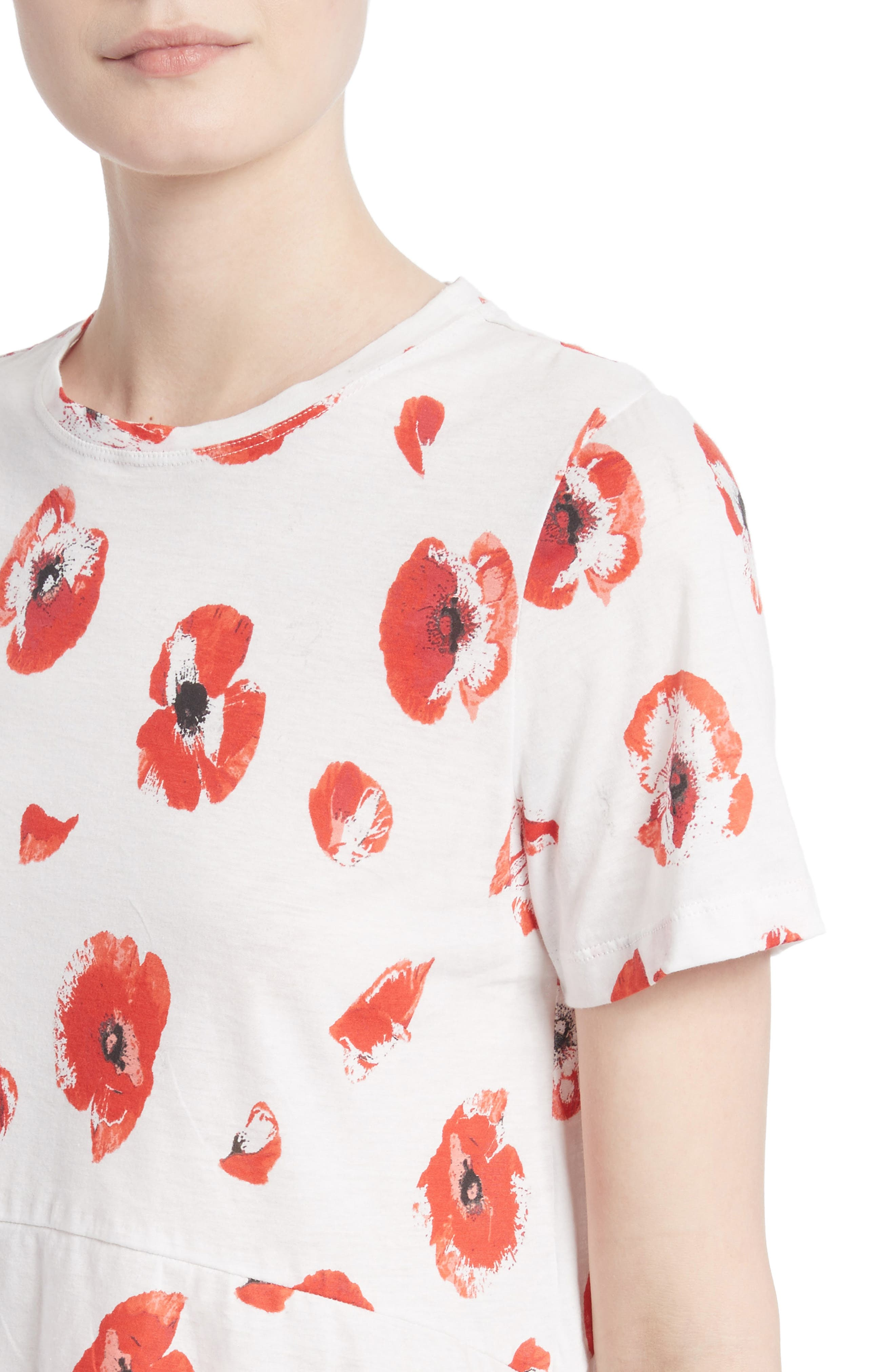Floral Peplum Tee,                             Alternate thumbnail 4, color,                             Creme/ Coral Poppy