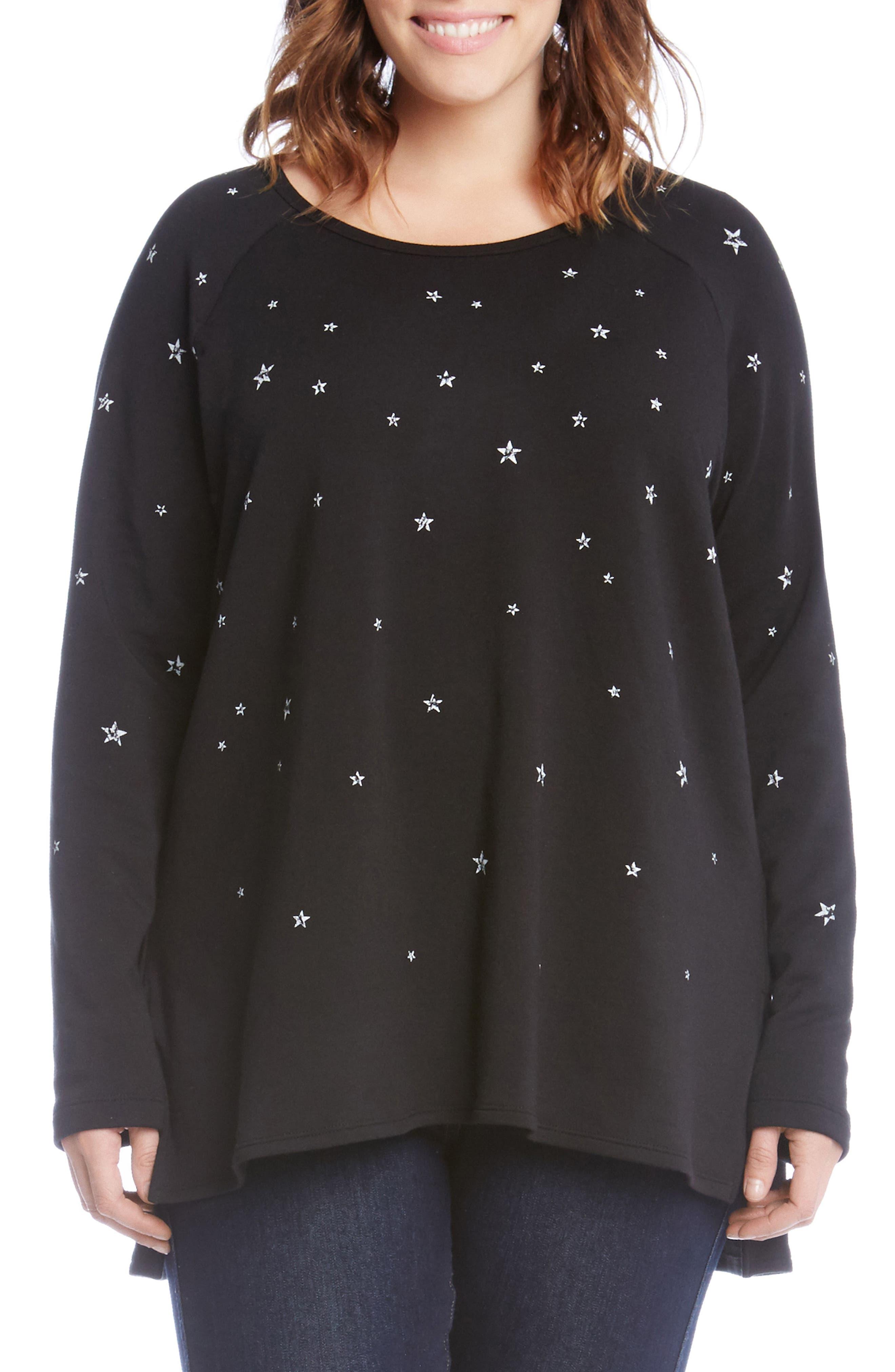 Karen Kane Star Print High/Low Sweatshirt (Plus Size)