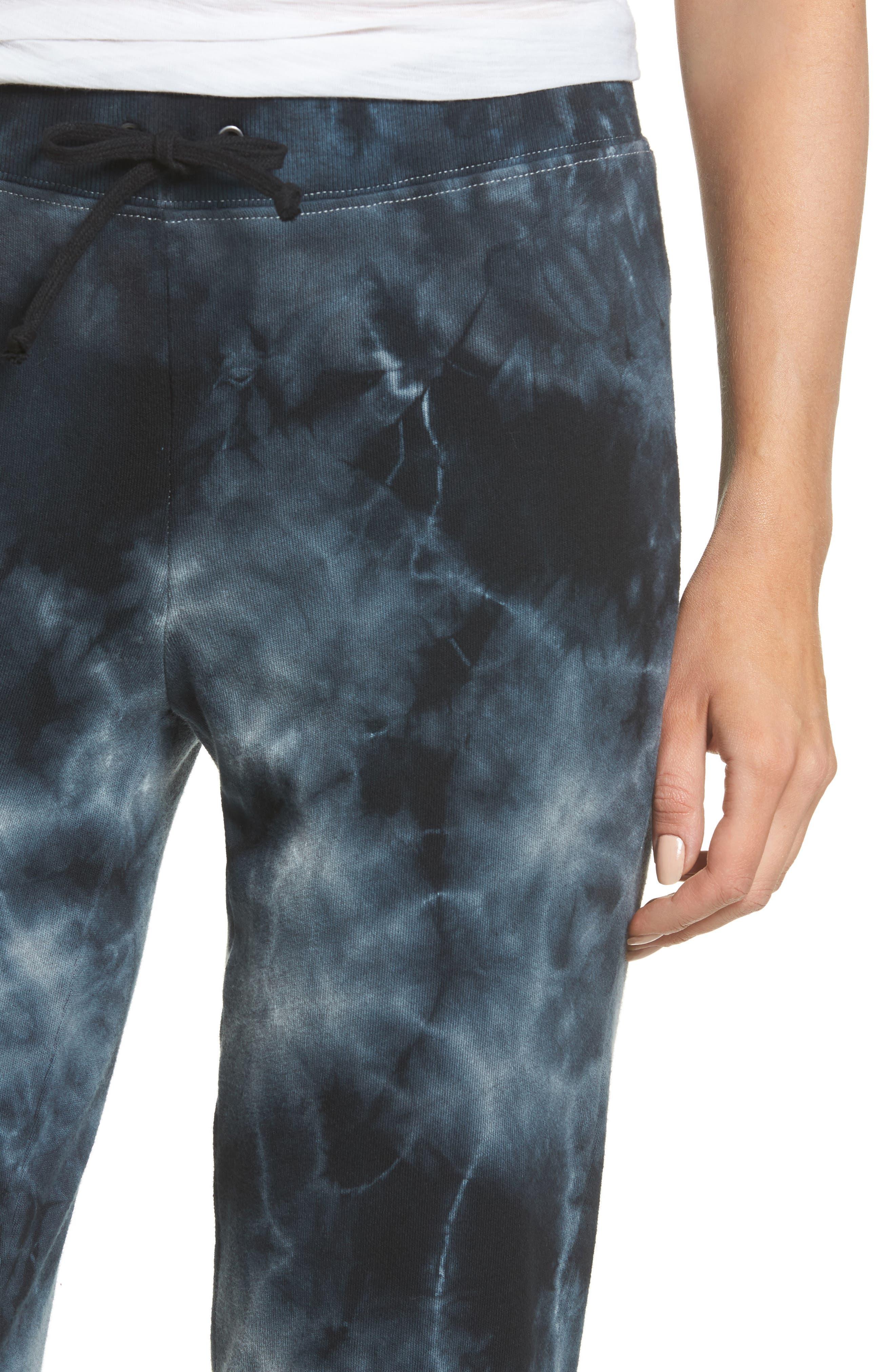 Tie Dye Knit Pants,                             Alternate thumbnail 4, color,                             Black/ Heather Grey Tie Dye