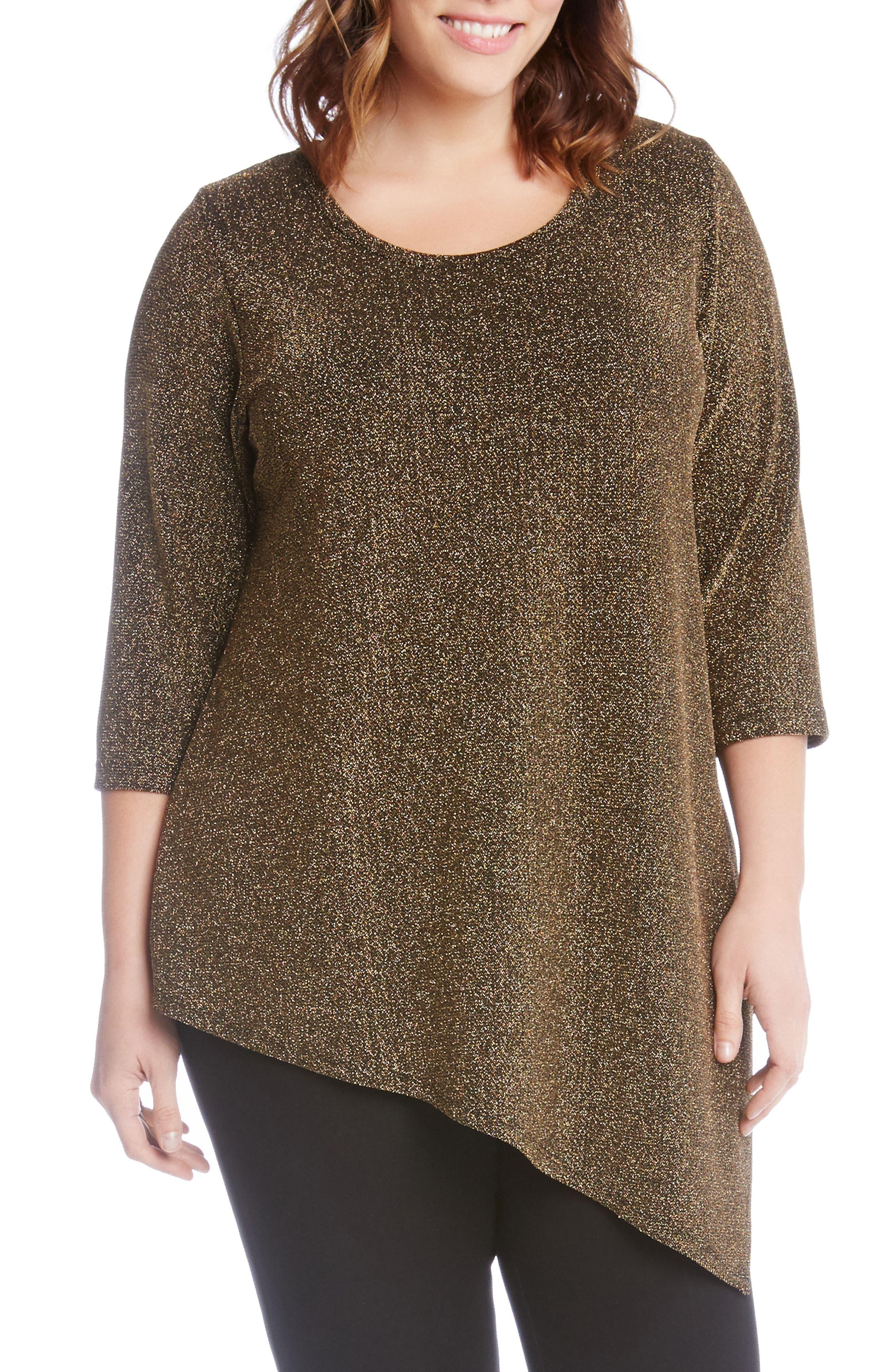 Karen Kane Gold Knit Asymmetrical Hem Top (Plus Size)