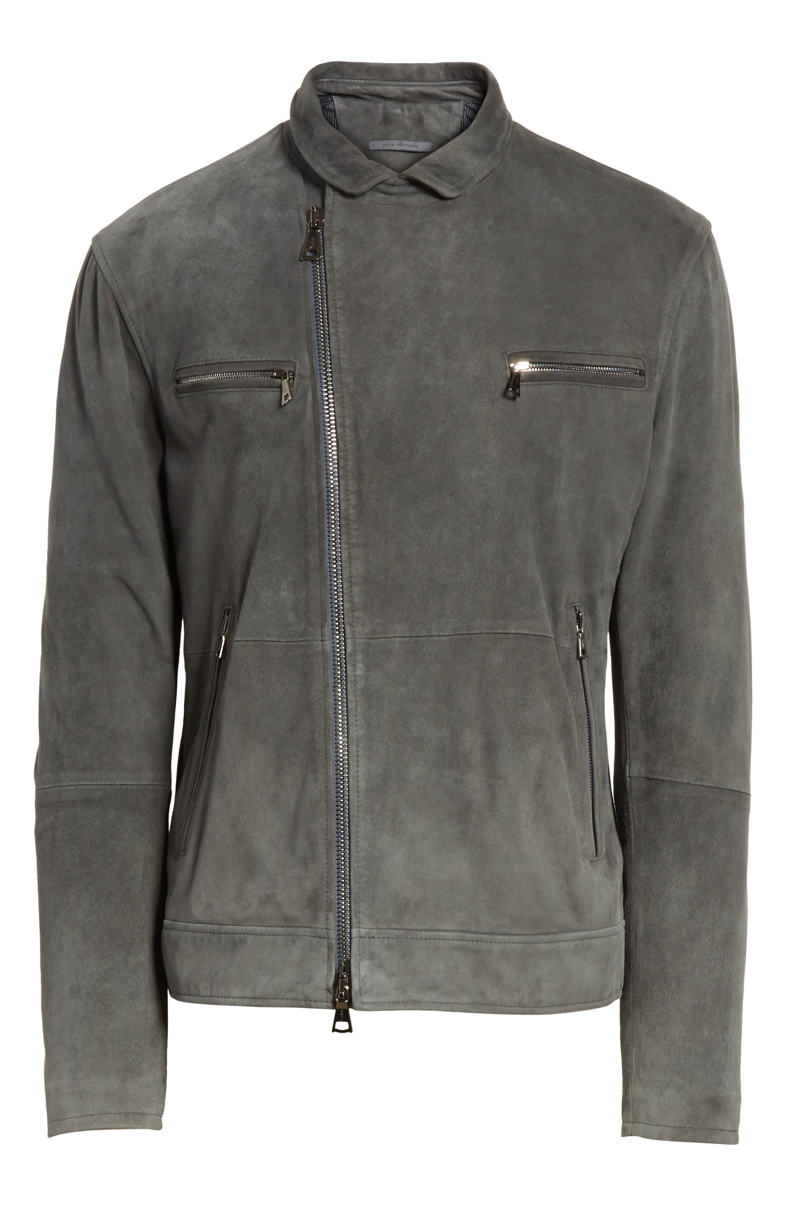 John Varvatos Suede Moto Jacket,                             Alternate thumbnail 6, color,                             Typhon Grey