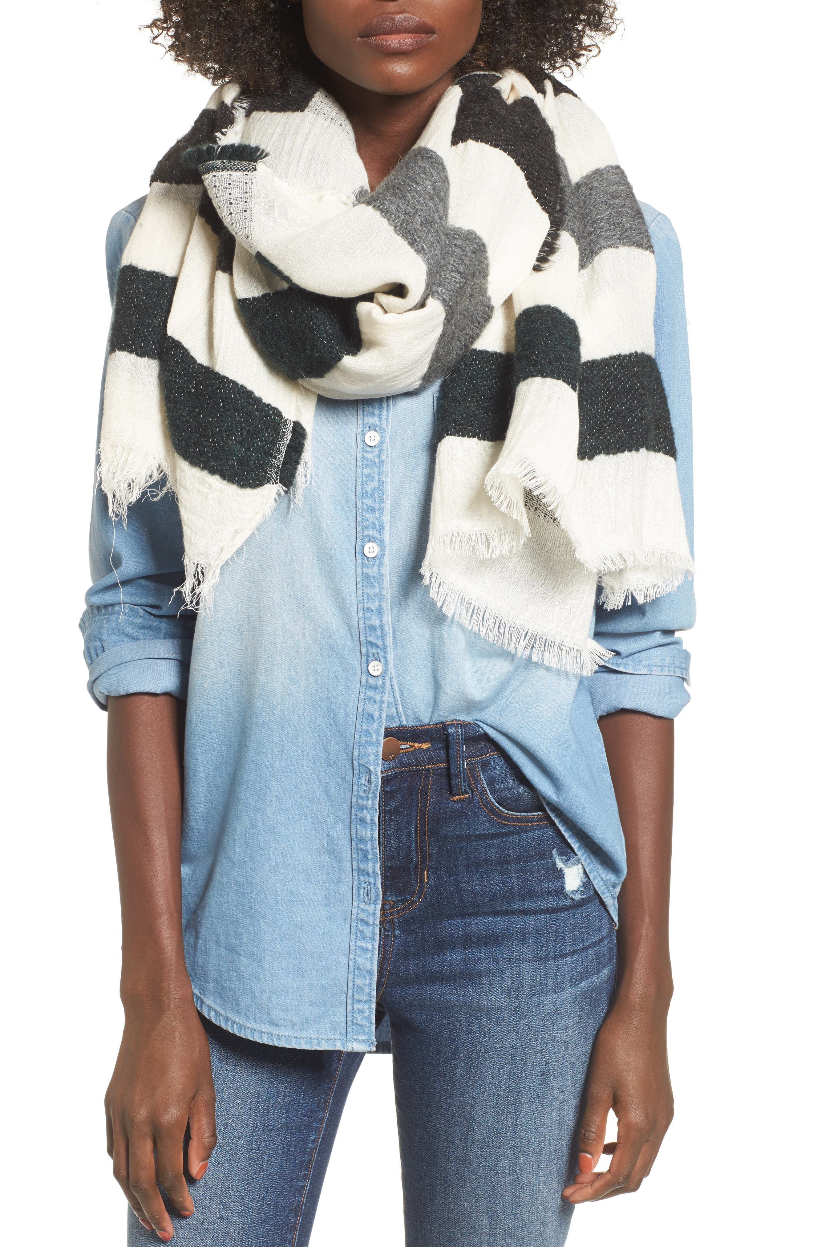 Sole Society Textured Jacquard Scarf