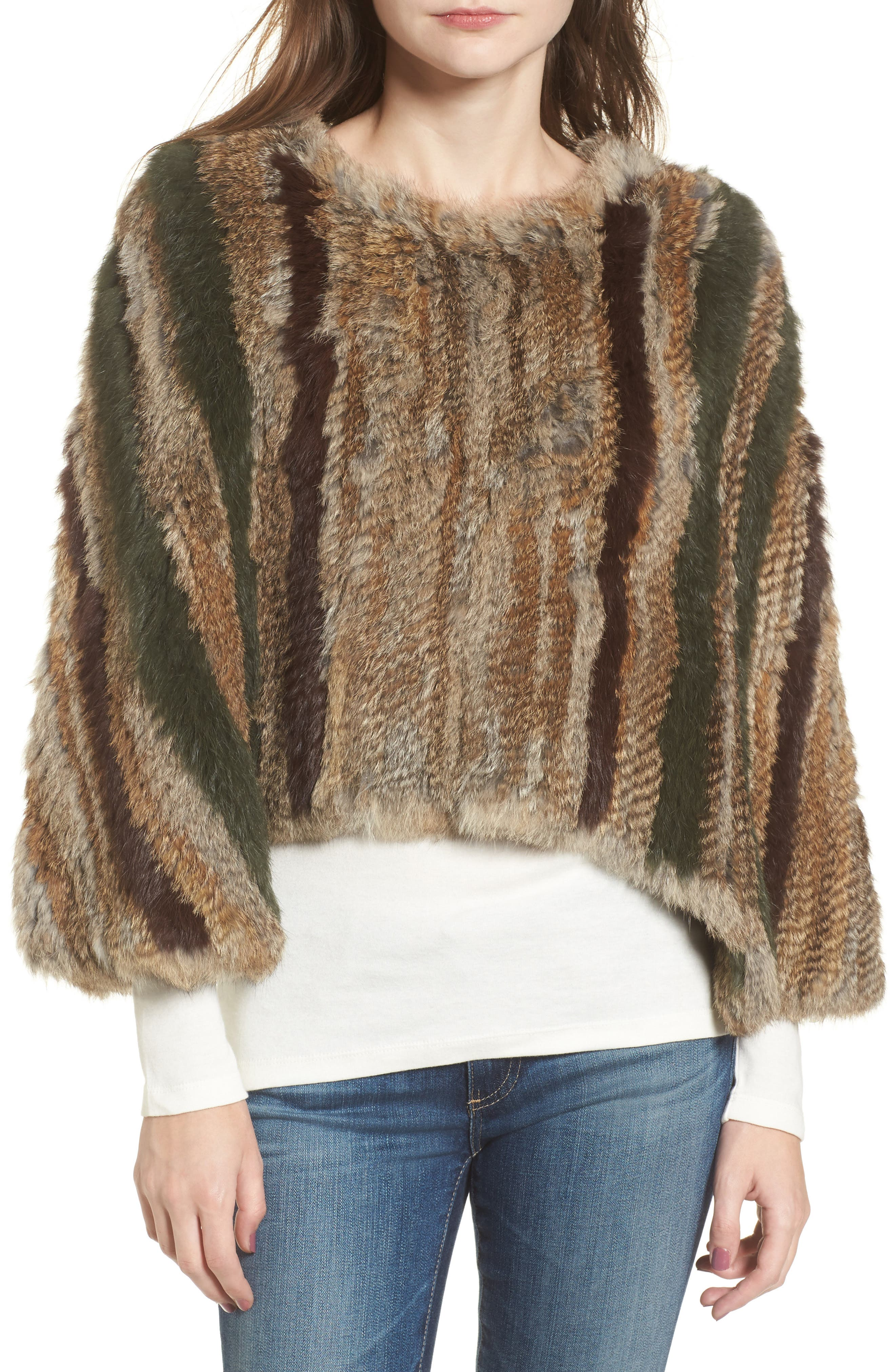 BNCI Nomad Genuine Rabbit Fur Pullover,                             Main thumbnail 1, color,                             Camel