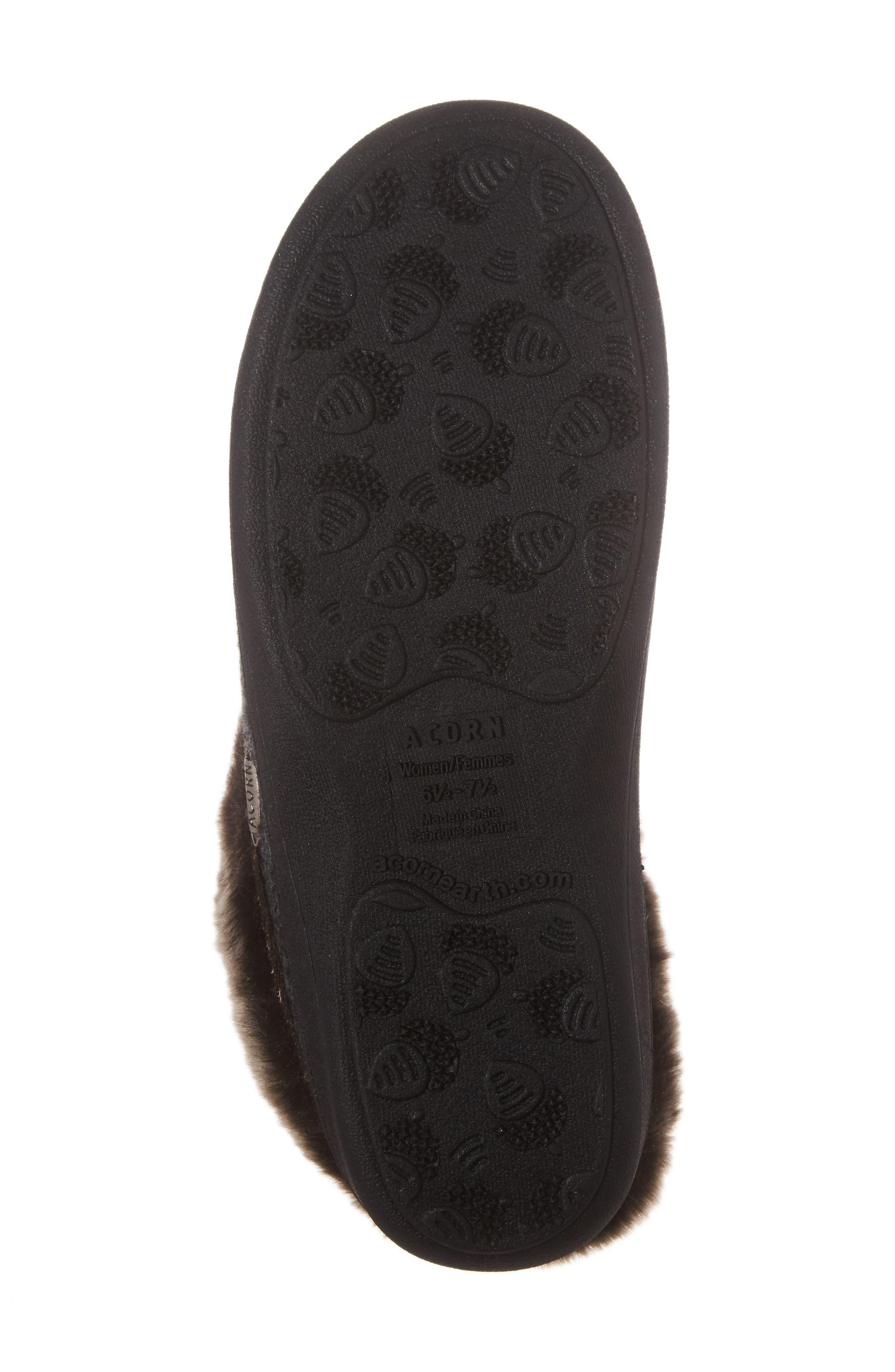 Chinchilla Faux Fur Slipper,                             Alternate thumbnail 6, color,                             Dark Charcoal Heather