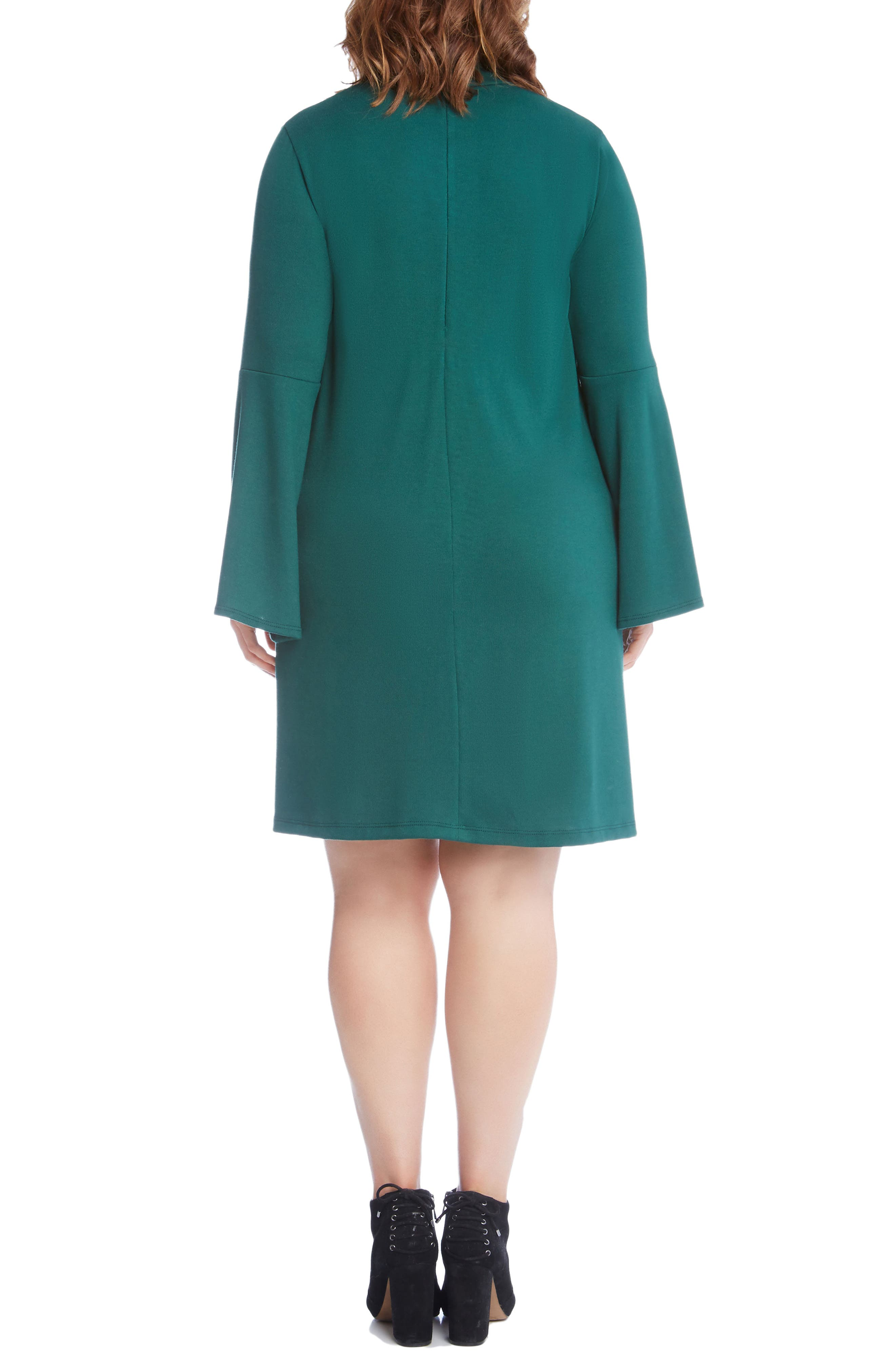 Taylor Choker Neck A-Line Dress,                             Alternate thumbnail 3, color,                             Green
