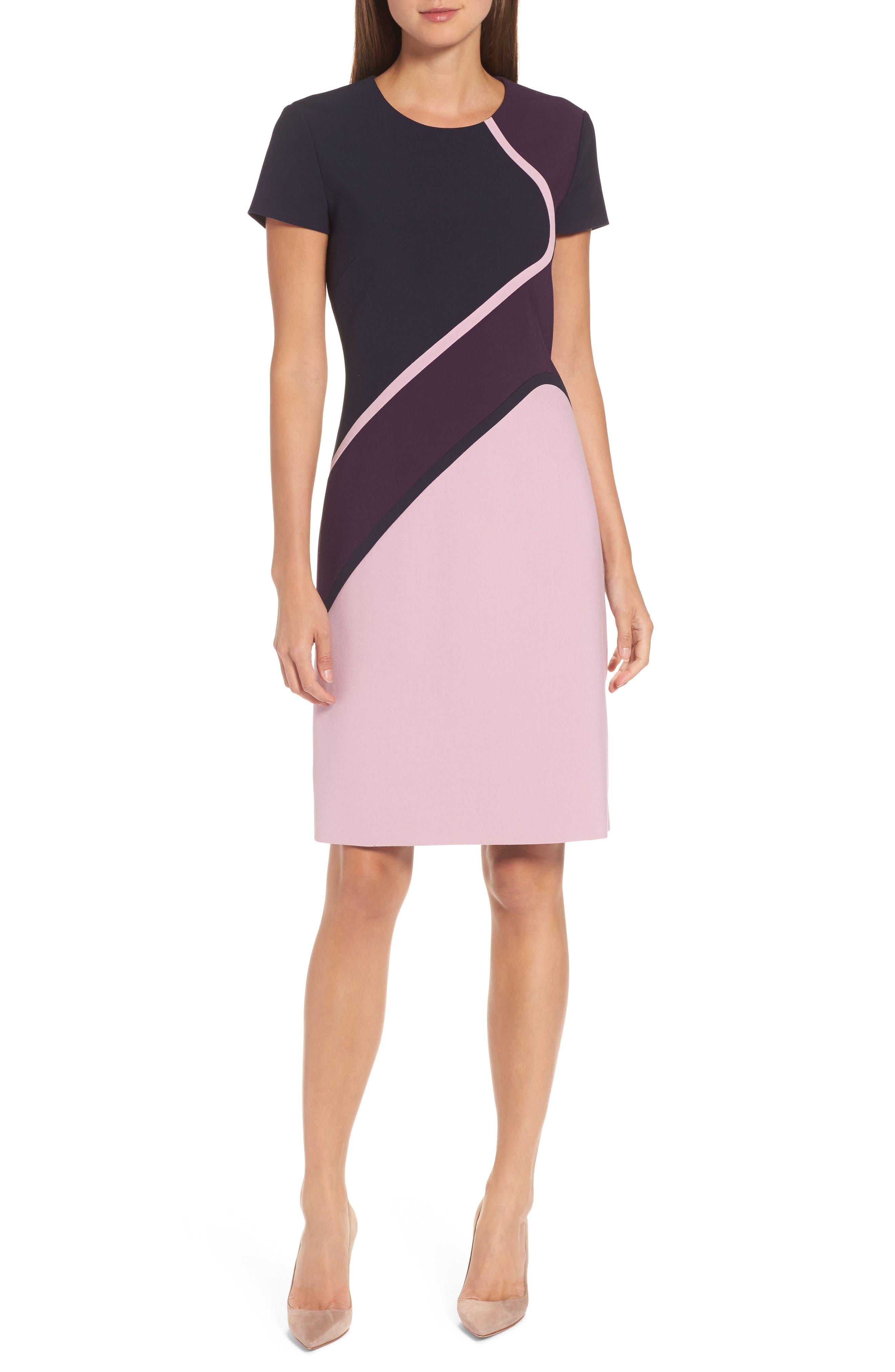 Dukatia Colorblock Sheath Dress,                         Main,                         color, Dark Dahlia
