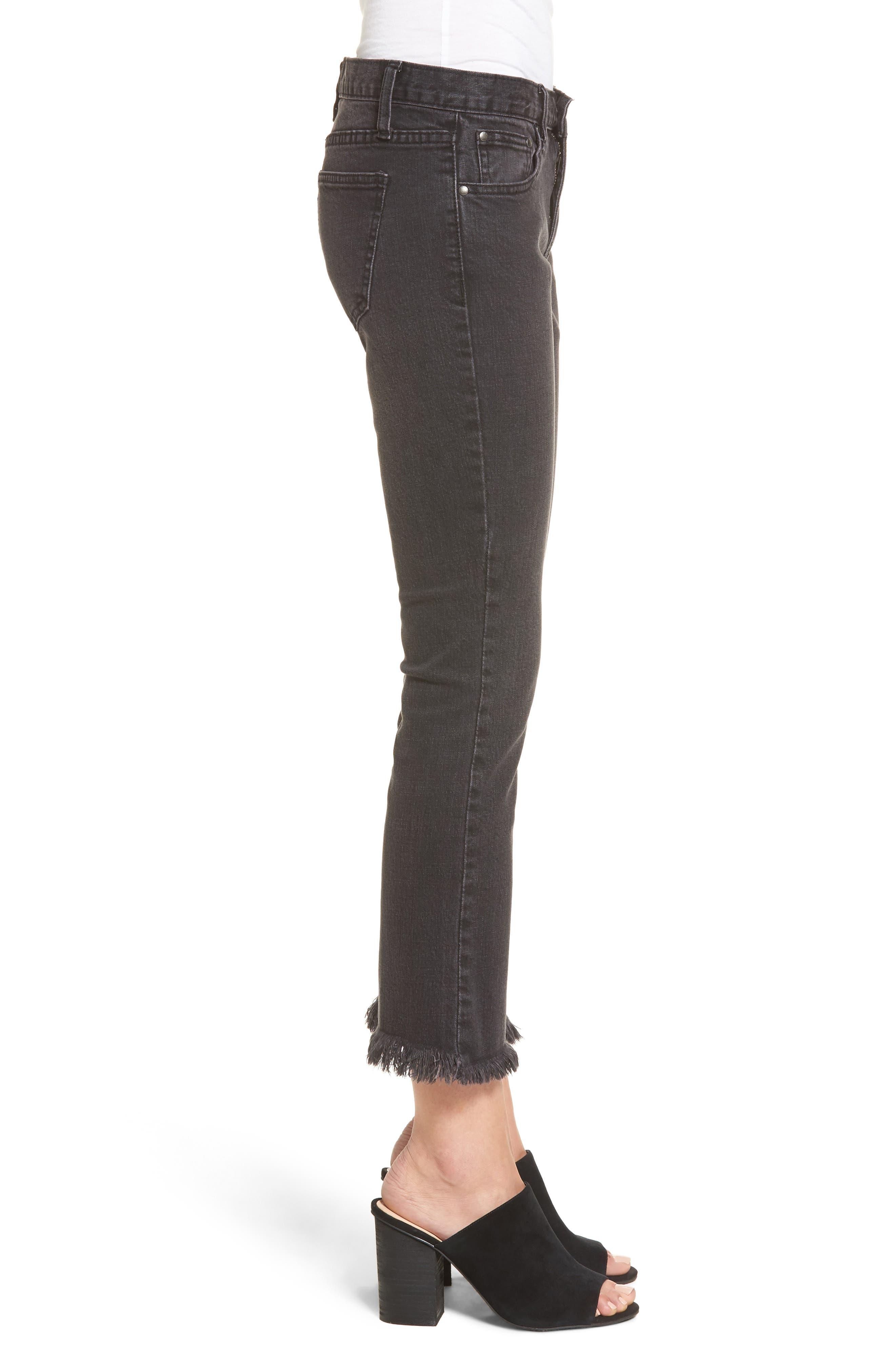 Hermosa Fray Hem Ankle Skinny Jeans,                             Alternate thumbnail 5, color,                             Black