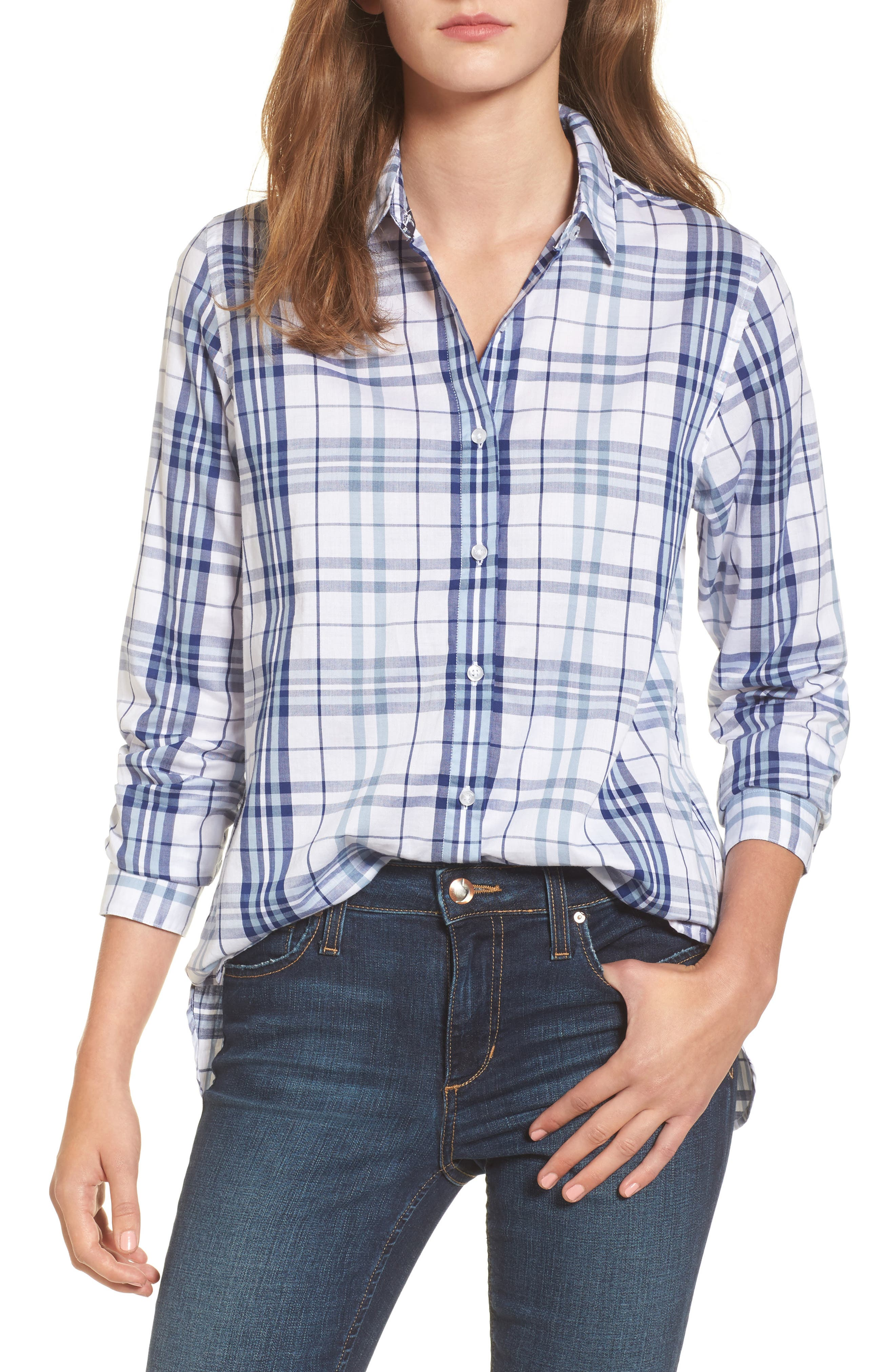 Selsey Plaid Shirt,                             Main thumbnail 1, color,                             White/ Coastal Blue