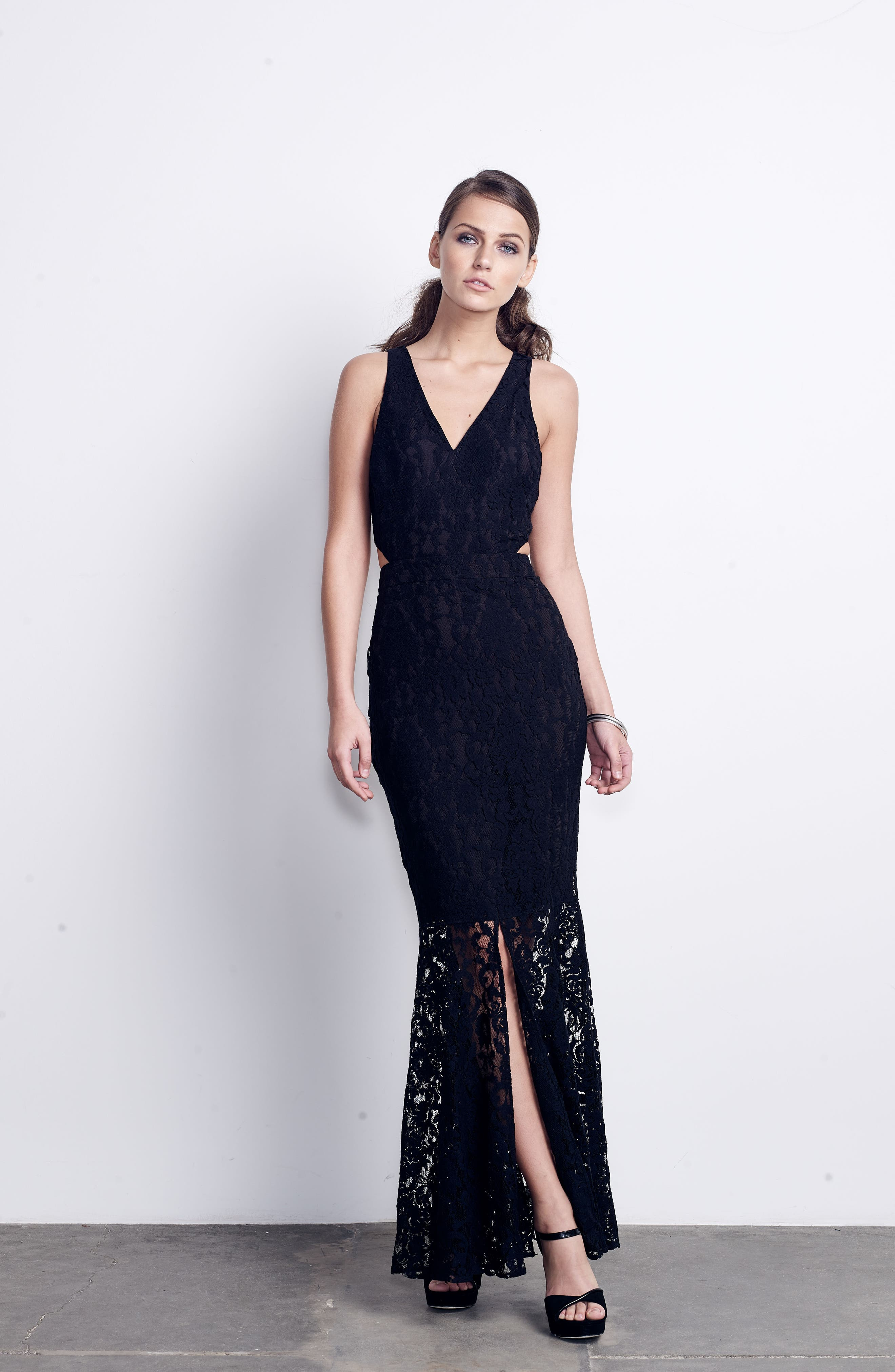 Beautiful People Cutout Lace Gown,                             Alternate thumbnail 2, color,                             Black