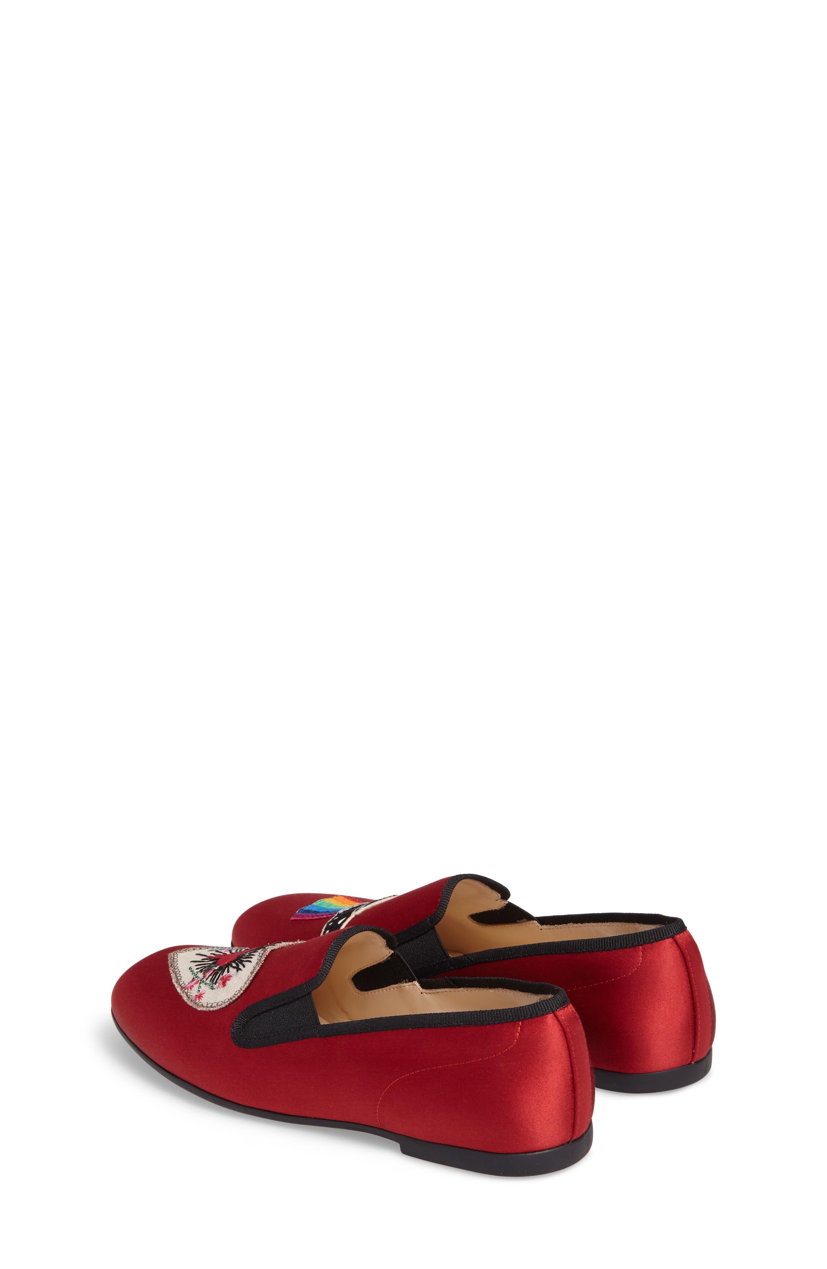 Nannie Appliqué Loafer Flat,                             Alternate thumbnail 2, color,                             Red