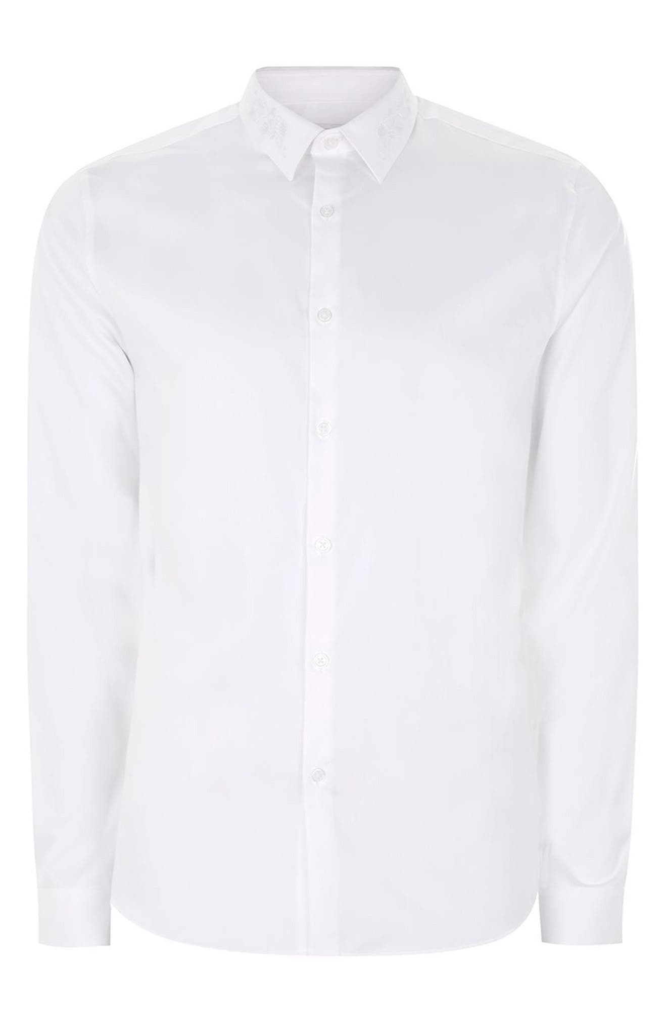 Slim Fit Embroidered Collar Dress Shirt,                             Alternate thumbnail 5, color,                             White